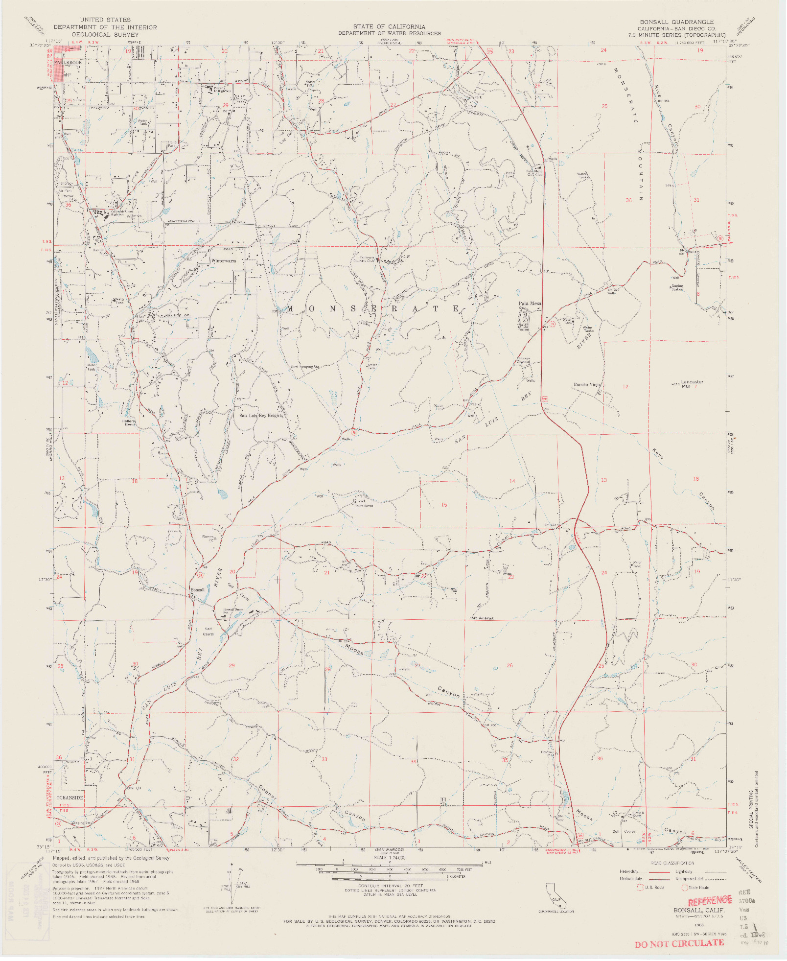 USGS 1:24000-SCALE QUADRANGLE FOR BONSALL, CA 1968