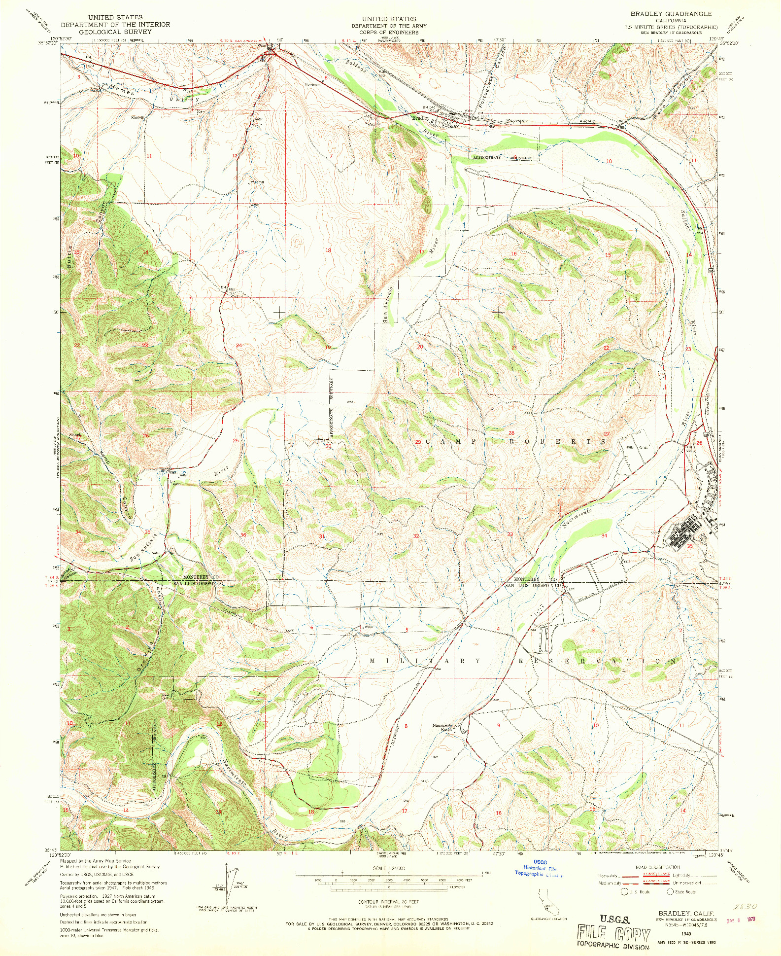 USGS 1:24000-SCALE QUADRANGLE FOR BRADLEY, CA 1949
