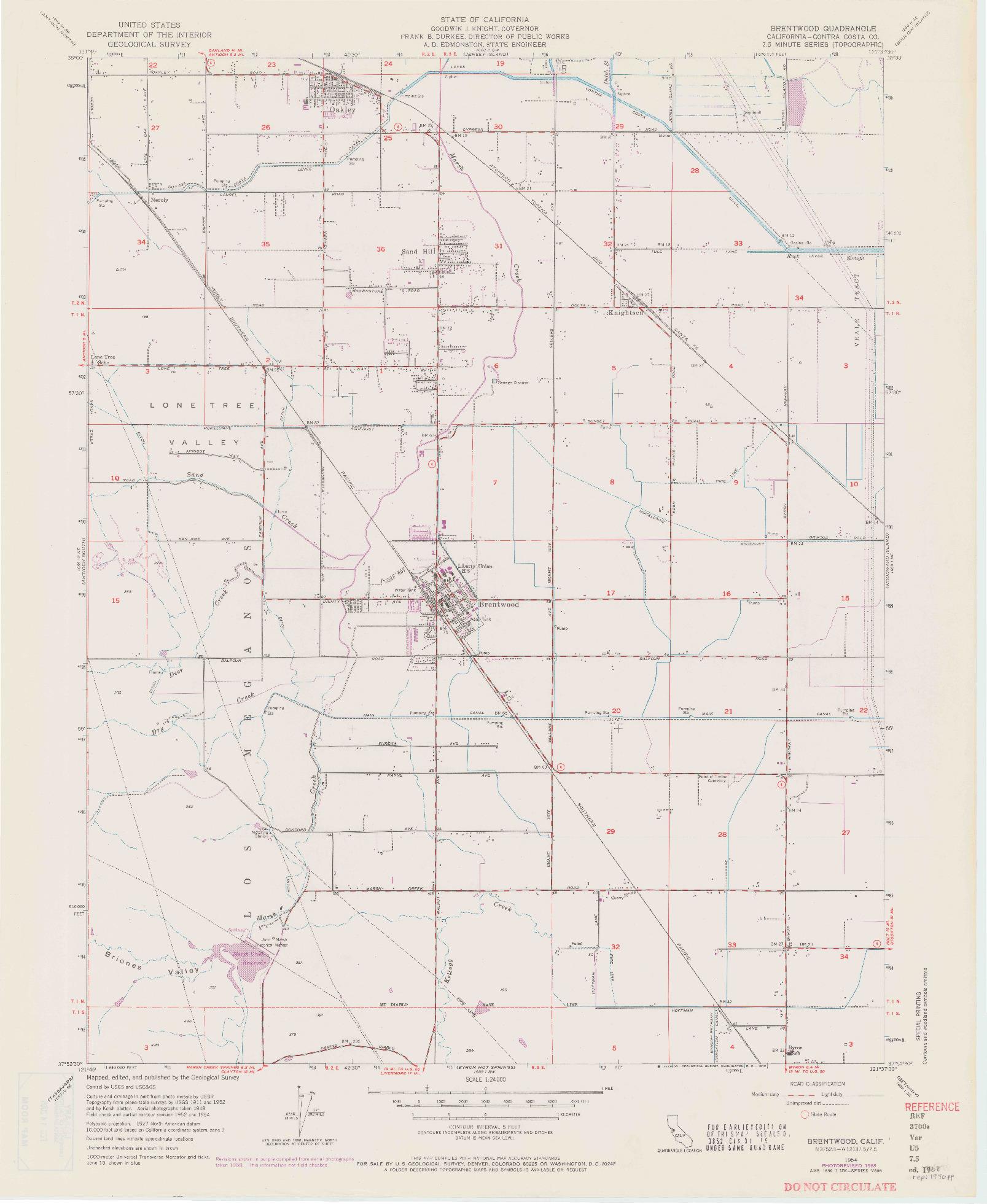 USGS 1:24000-SCALE QUADRANGLE FOR BRENTWOOD, CA 1954