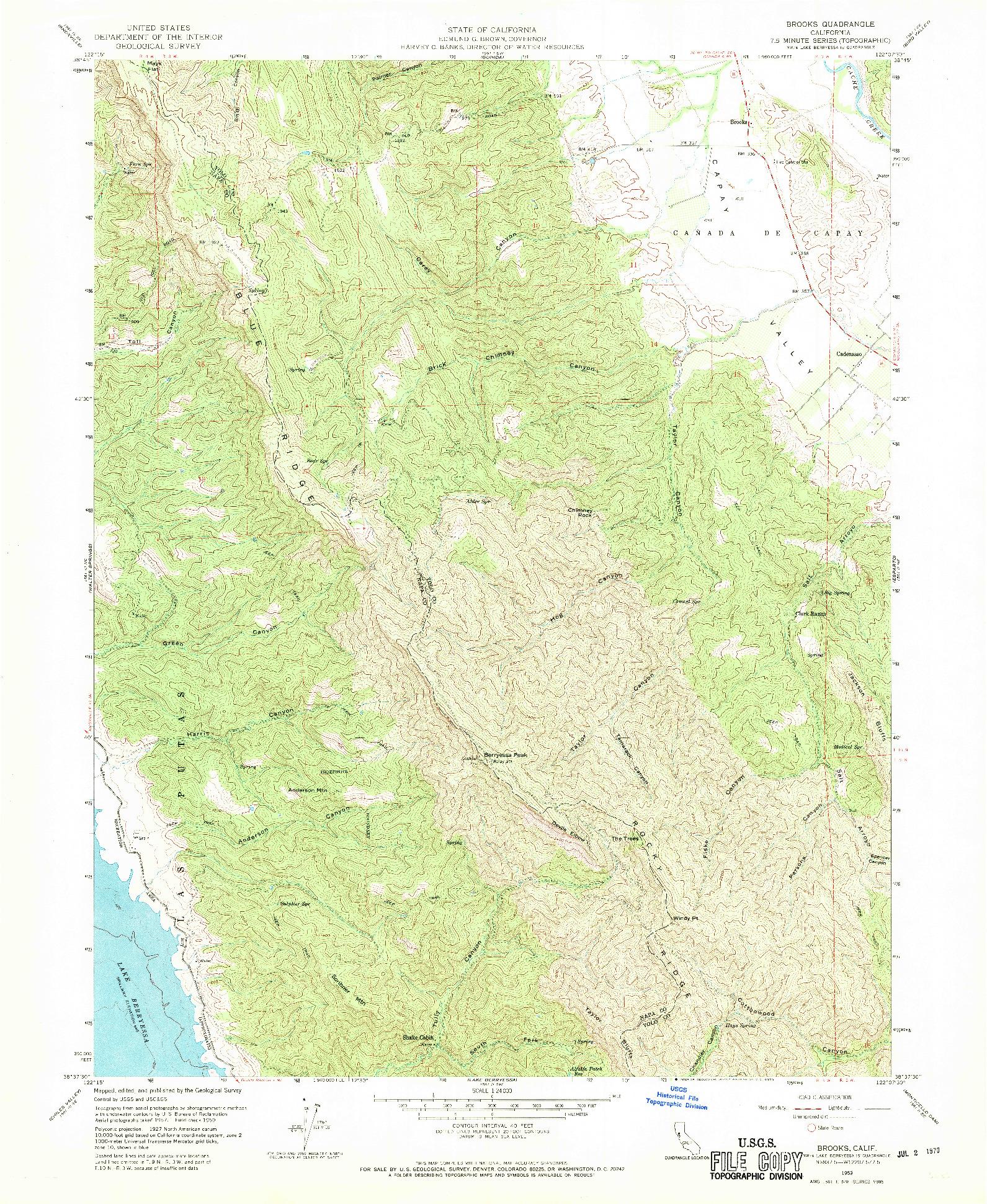 USGS 1:24000-SCALE QUADRANGLE FOR BROOKS, CA 1959
