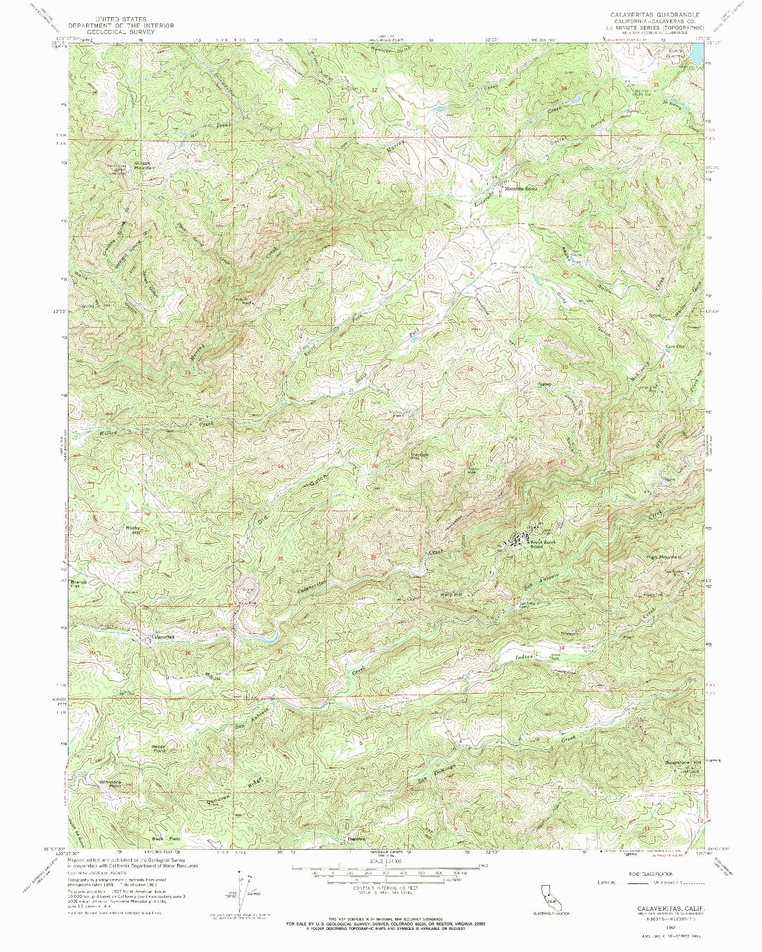 USGS 1:24000-SCALE QUADRANGLE FOR CALAVERITAS, CA 1962