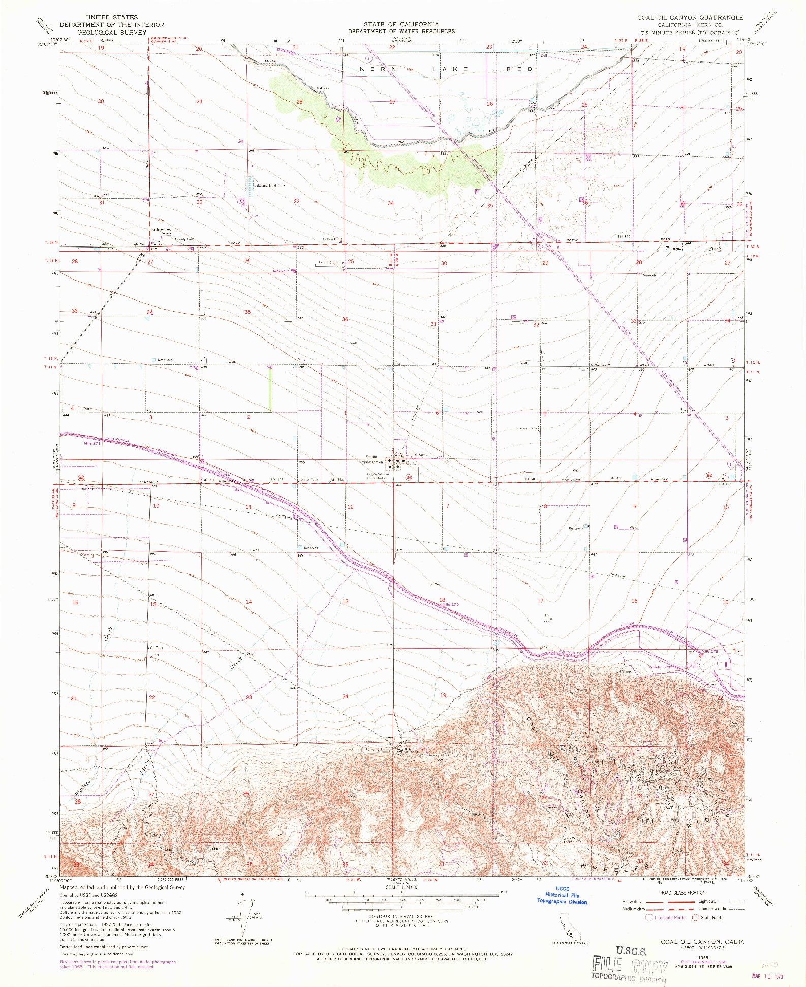 USGS 1:24000-SCALE QUADRANGLE FOR COAL OIL CANYON, CA 1955