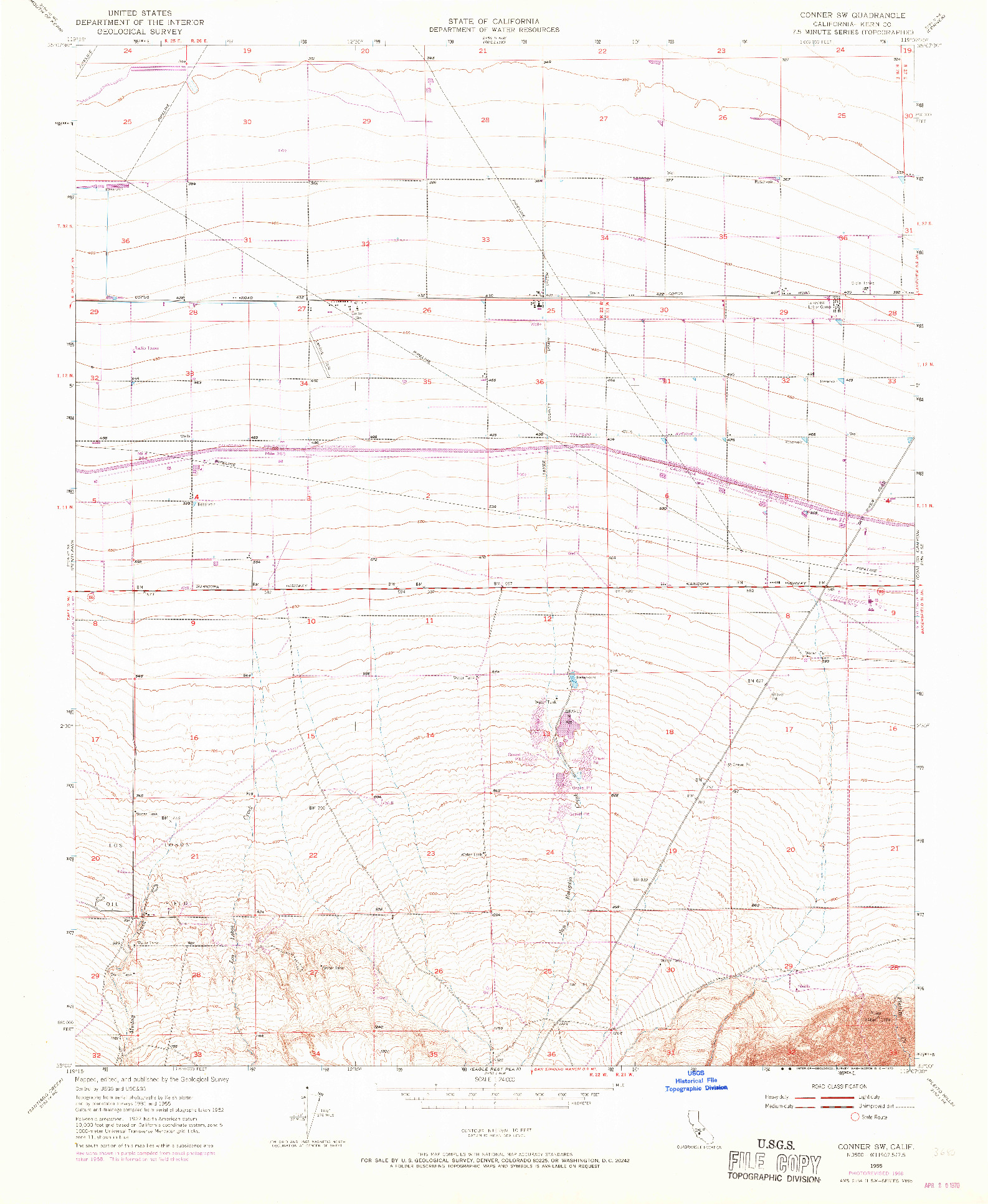 USGS 1:24000-SCALE QUADRANGLE FOR CONNER SW, CA 1955