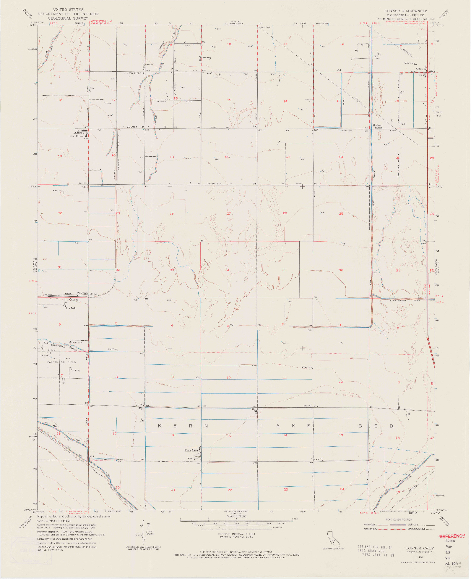 USGS 1:24000-SCALE QUADRANGLE FOR CONNER, CA 1954