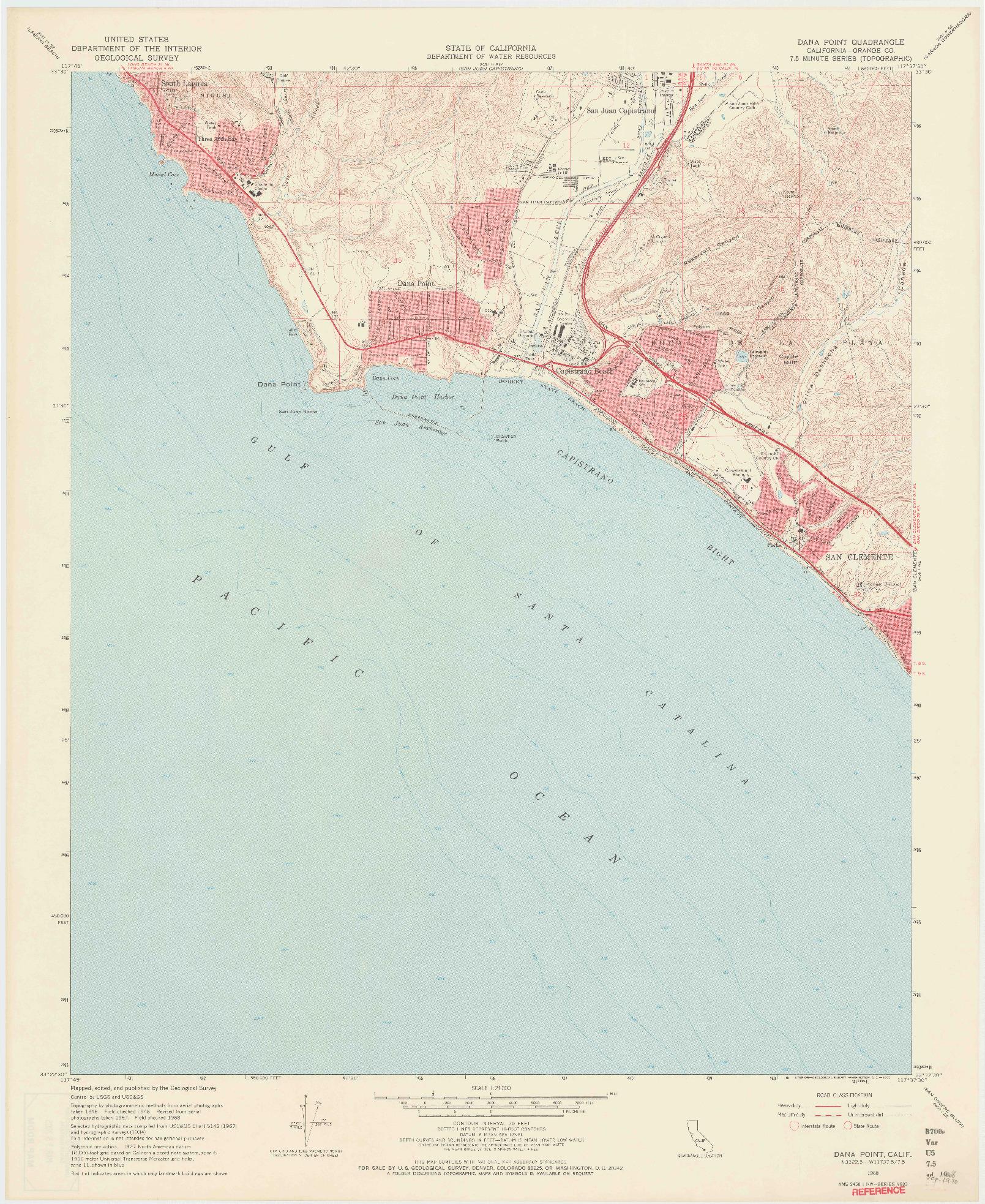USGS 1:24000-SCALE QUADRANGLE FOR DANA POINT, CA 1968