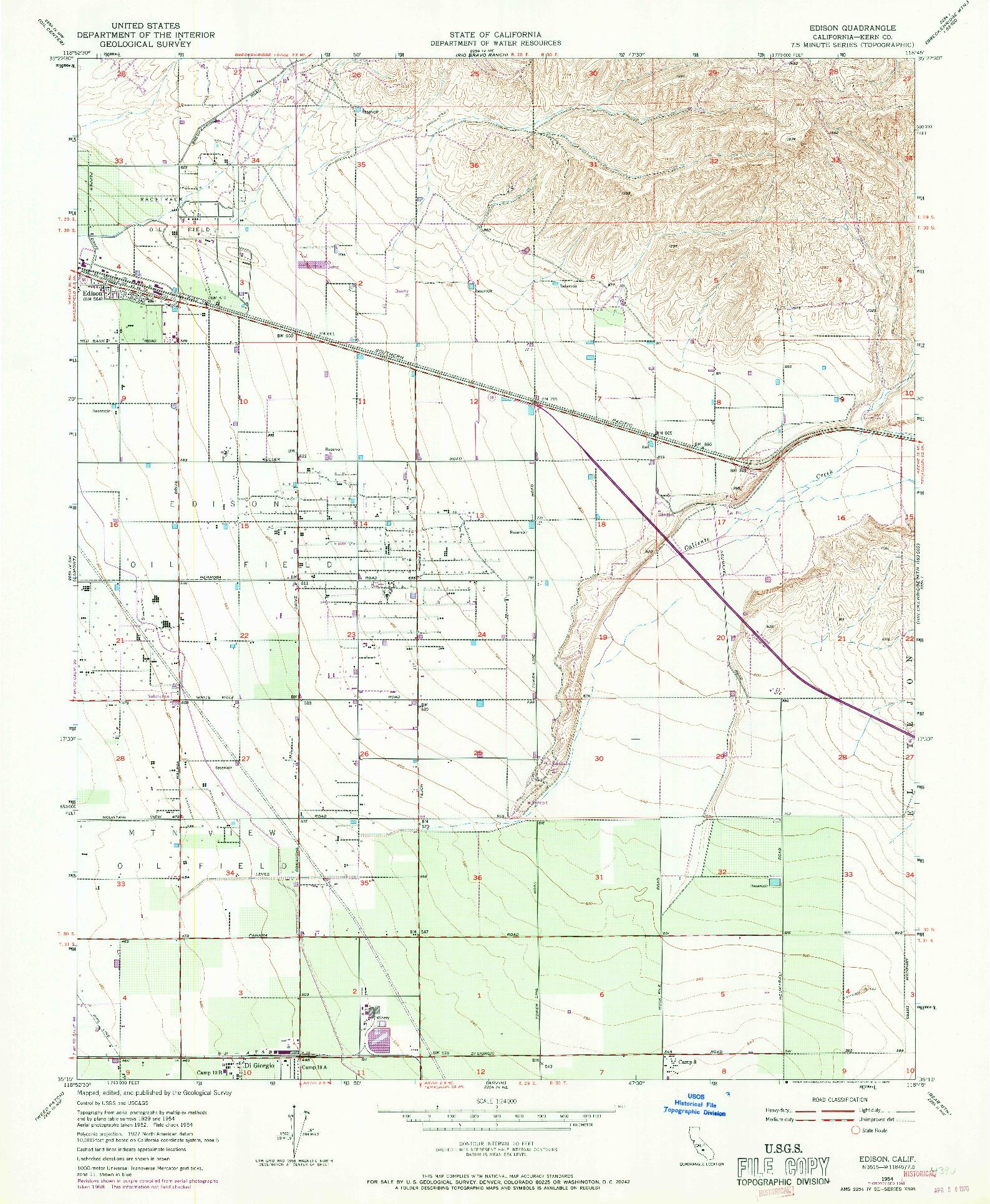 USGS 1:24000-SCALE QUADRANGLE FOR EDISON, CA 1954