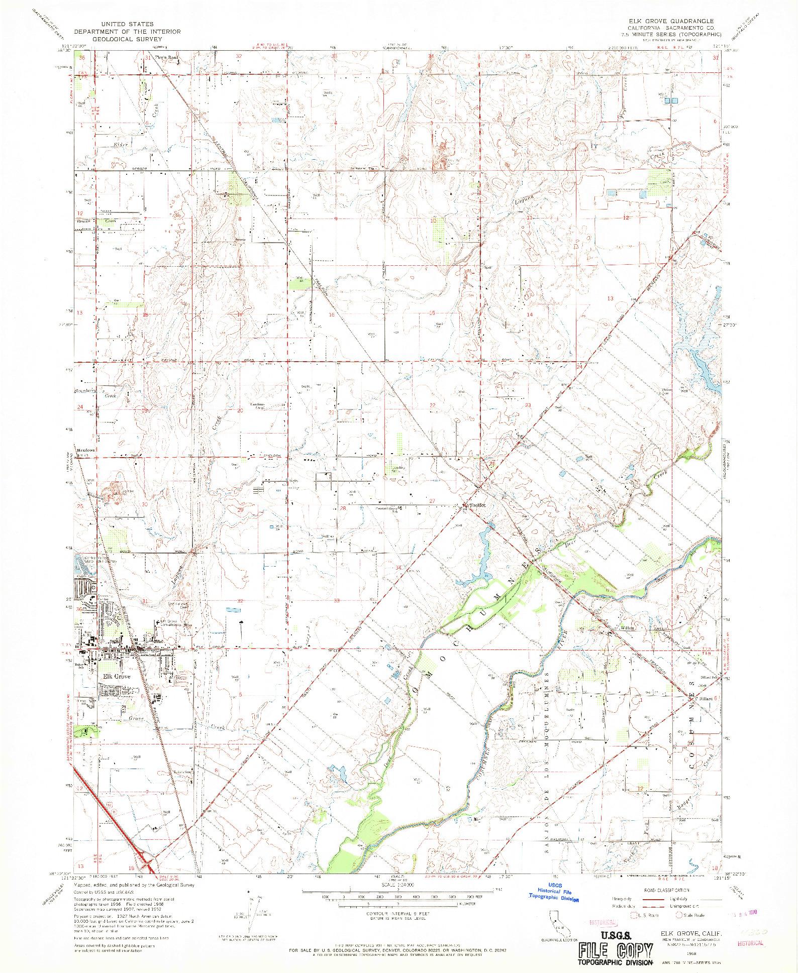 USGS 1:24000-SCALE QUADRANGLE FOR ELK GROVE, CA 1968