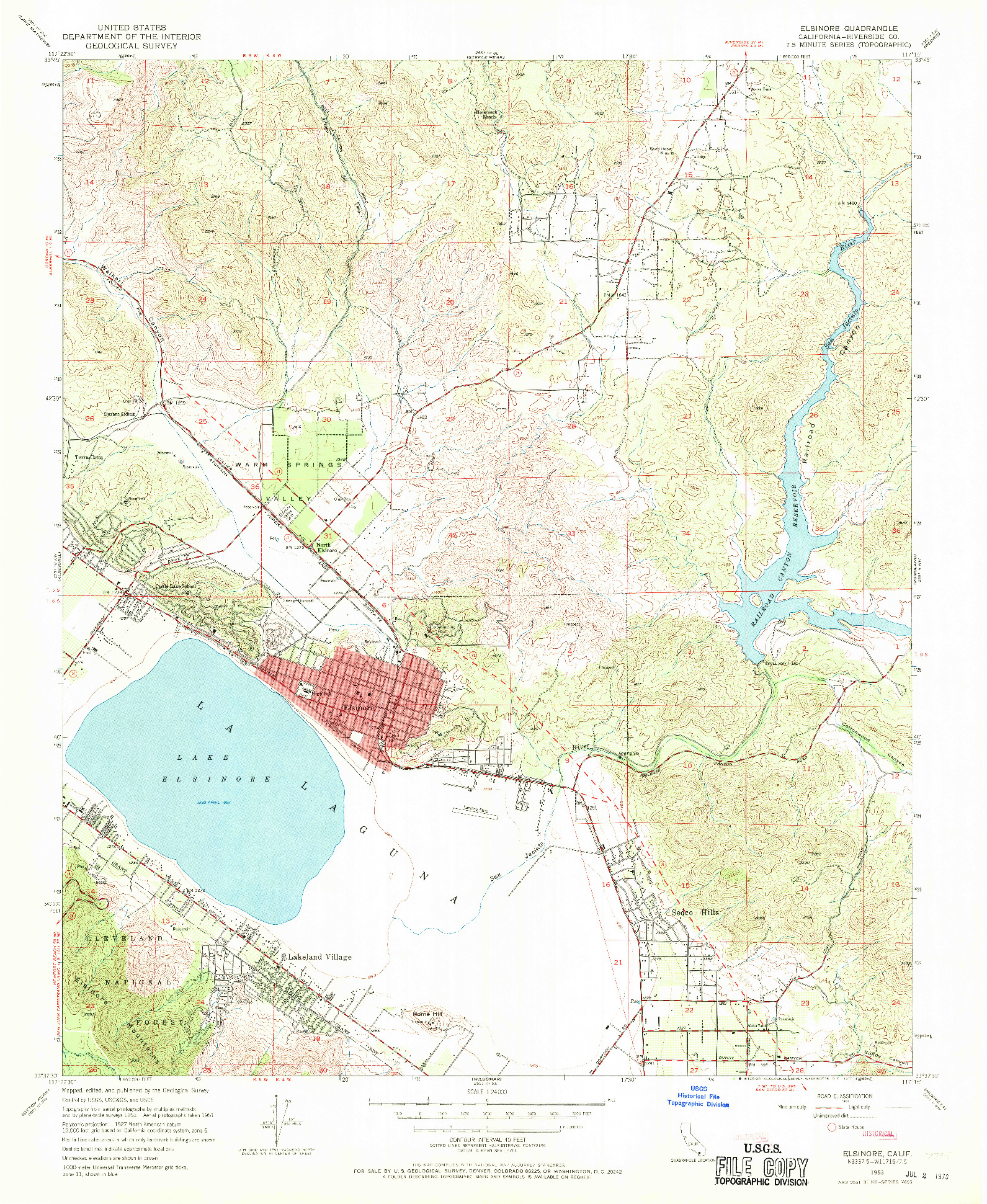 USGS 1:24000-SCALE QUADRANGLE FOR ELSINORE, CA 1953