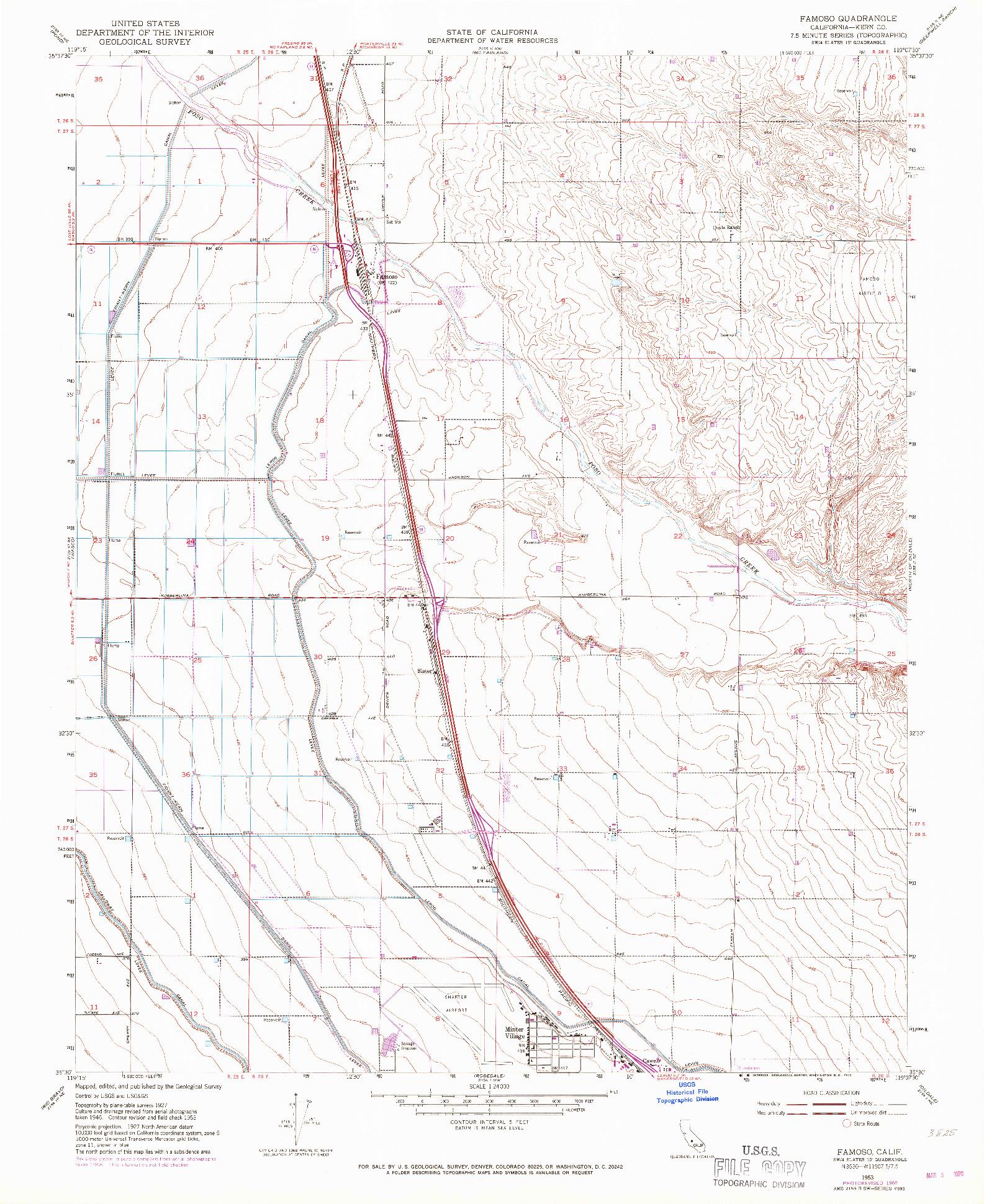 USGS 1:24000-SCALE QUADRANGLE FOR FAMOSO, CA 1953