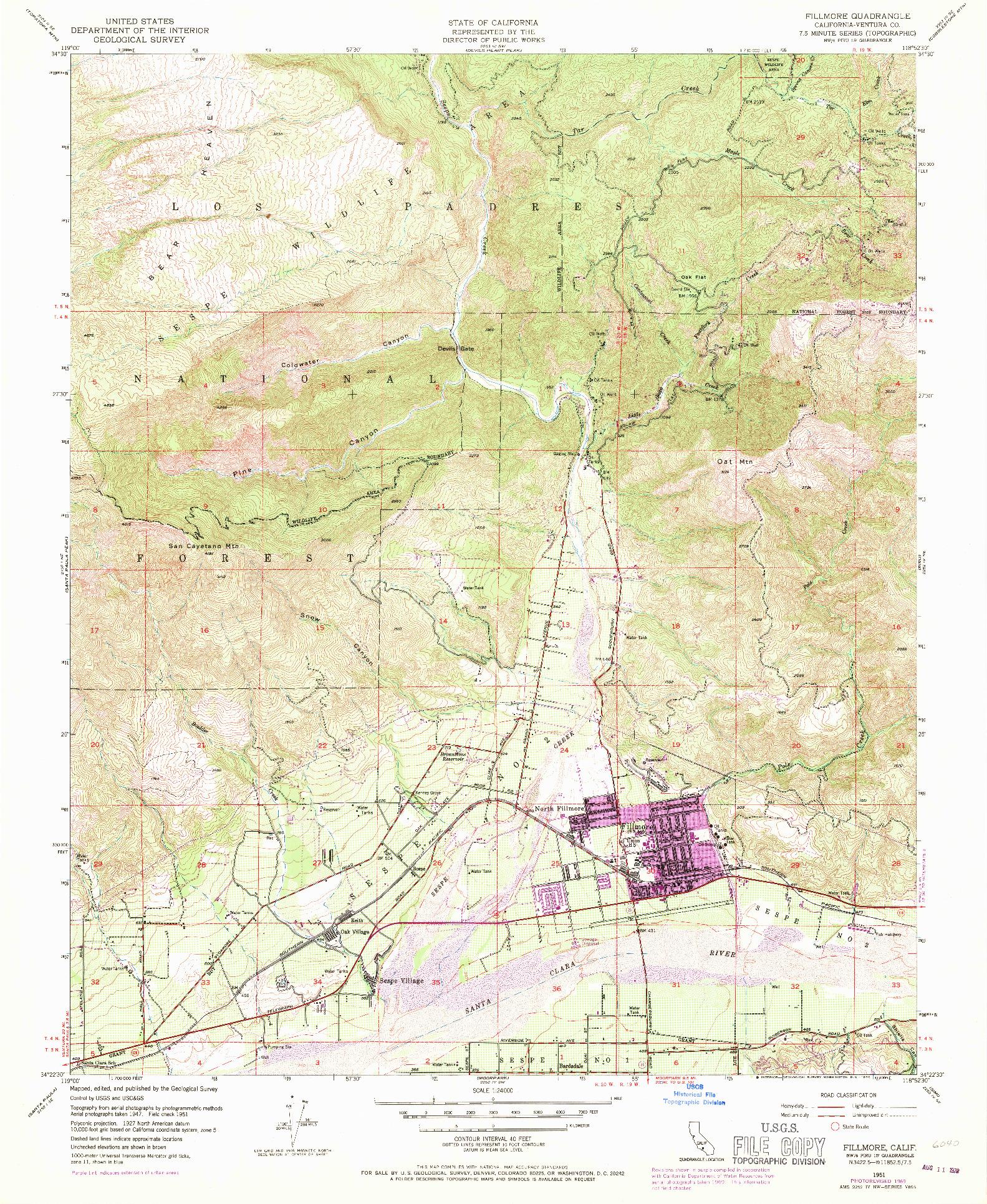 USGS 1:24000-SCALE QUADRANGLE FOR FILLMORE, CA 1951