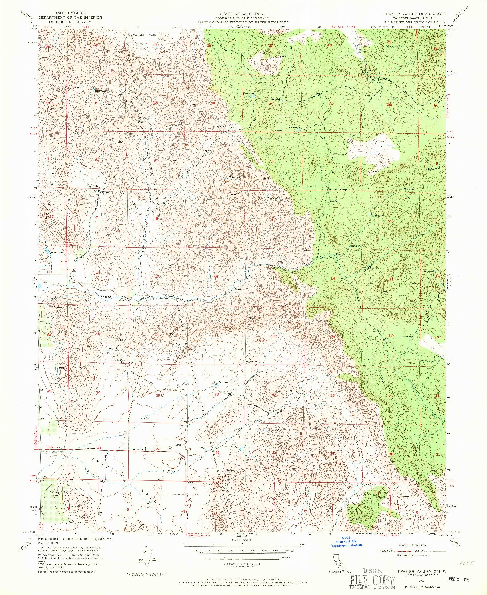 USGS 1:24000-SCALE QUADRANGLE FOR FRAZIER VALLEY, CA 1957