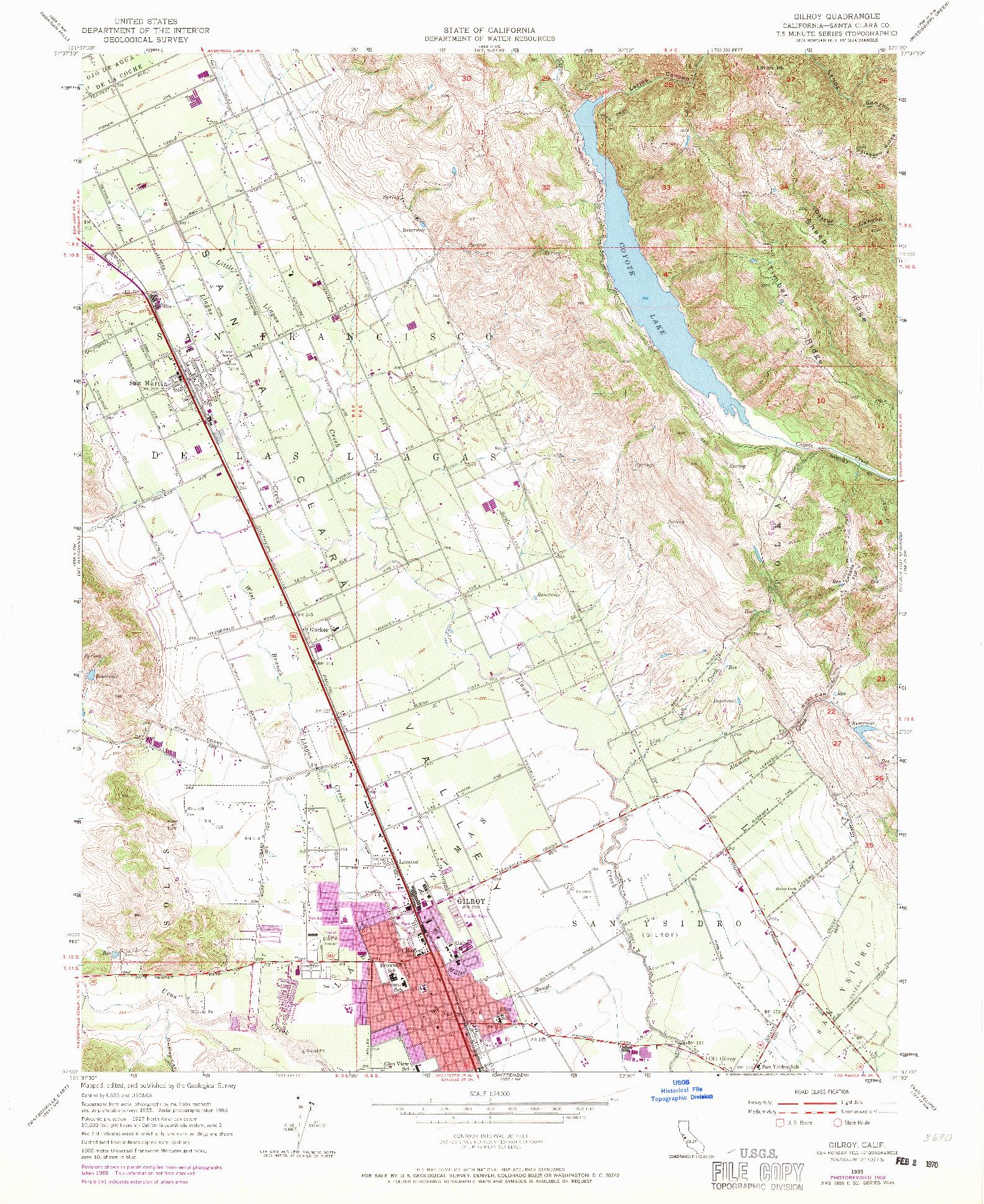 USGS 1:24000-SCALE QUADRANGLE FOR GILROY, CA 1955