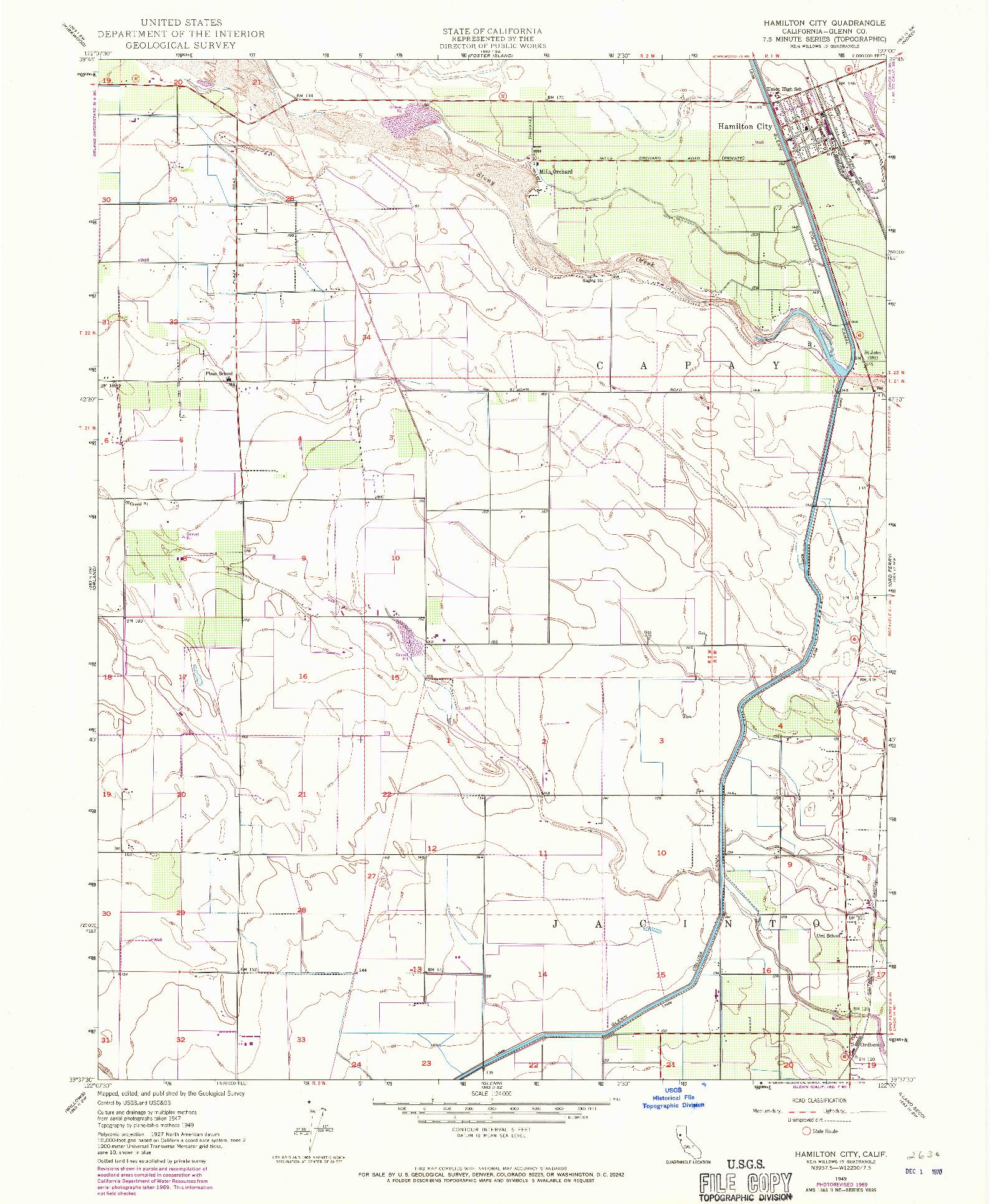 USGS 1:24000-SCALE QUADRANGLE FOR HAMILTON CITY, CA 1949
