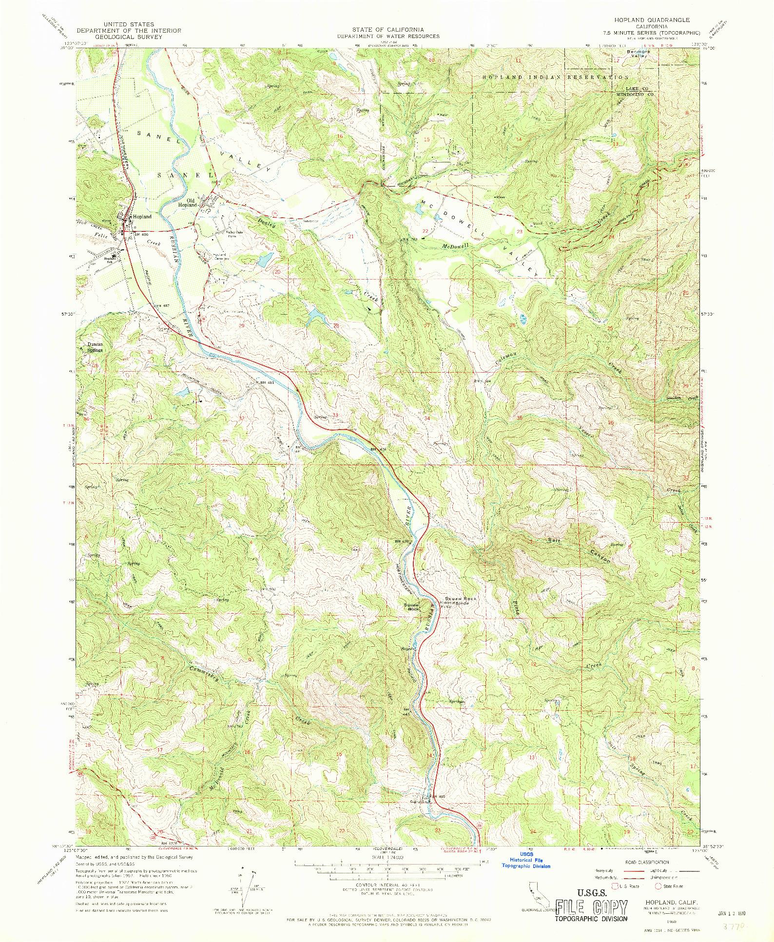 USGS 1:24000-SCALE QUADRANGLE FOR HOPLAND, CA 1960