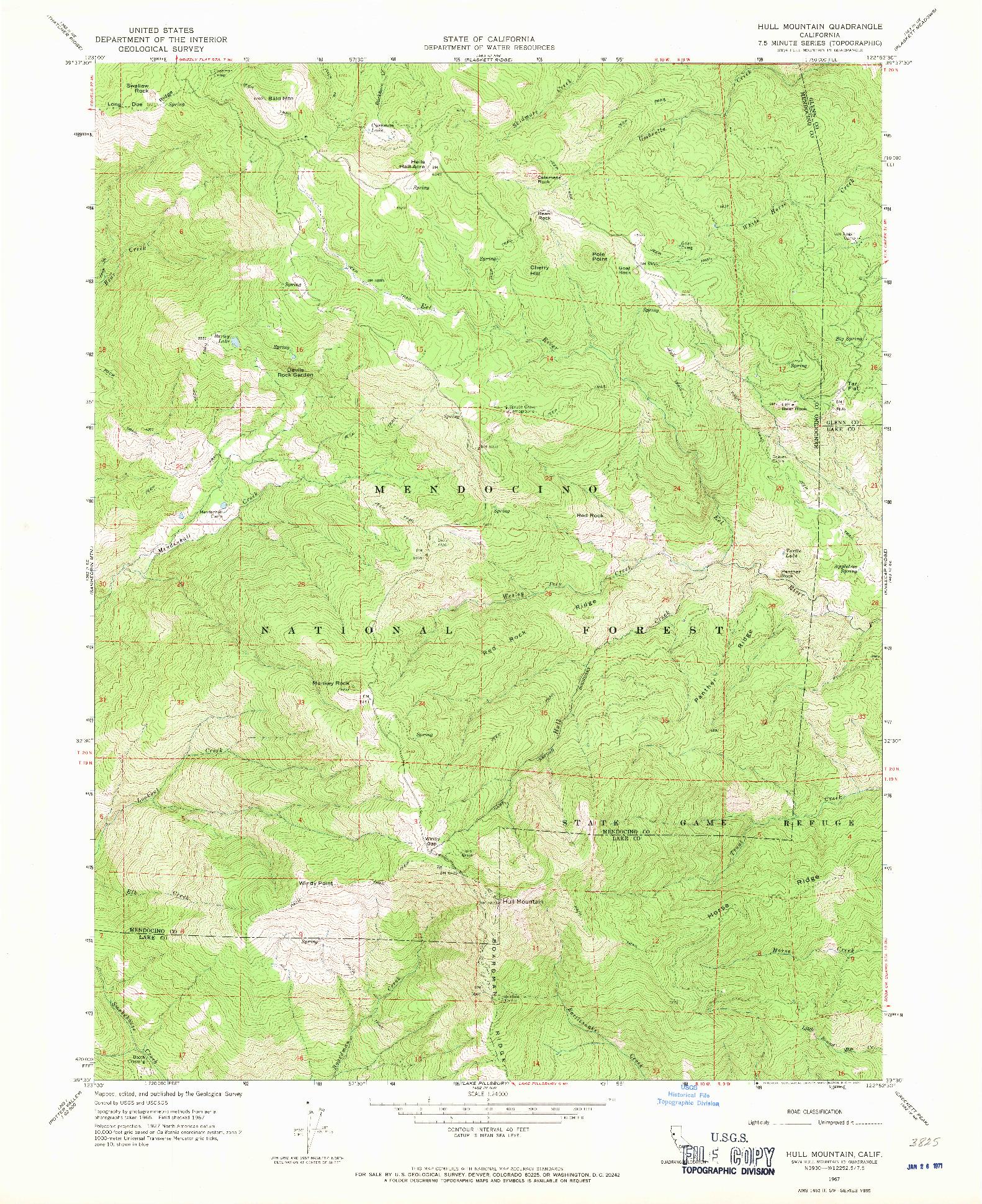 USGS 1:24000-SCALE QUADRANGLE FOR HULL MOUNTAIN, CA 1967