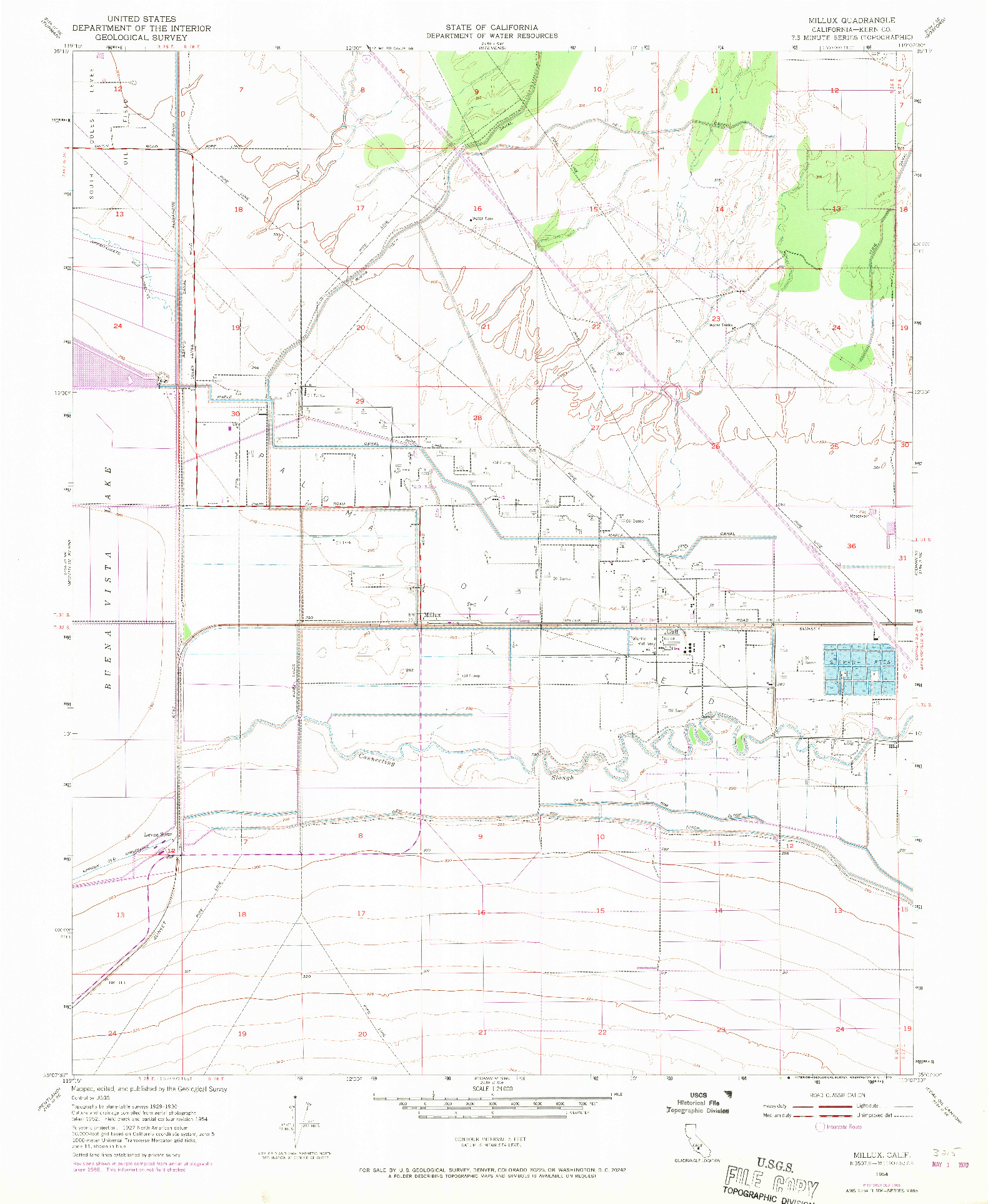 USGS 1:24000-SCALE QUADRANGLE FOR MILLUX, CA 1954