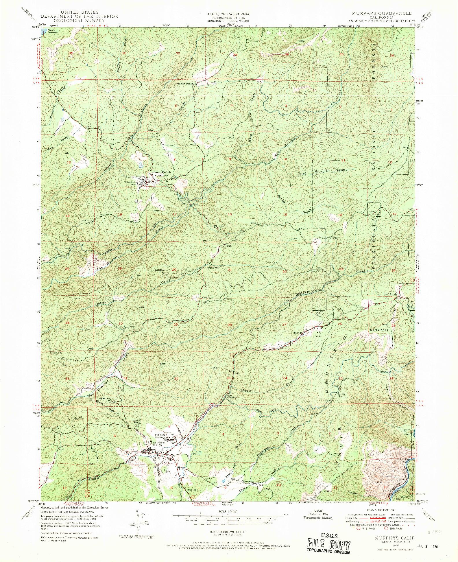 USGS 1:24000-SCALE QUADRANGLE FOR MURPHYS, CA 1948