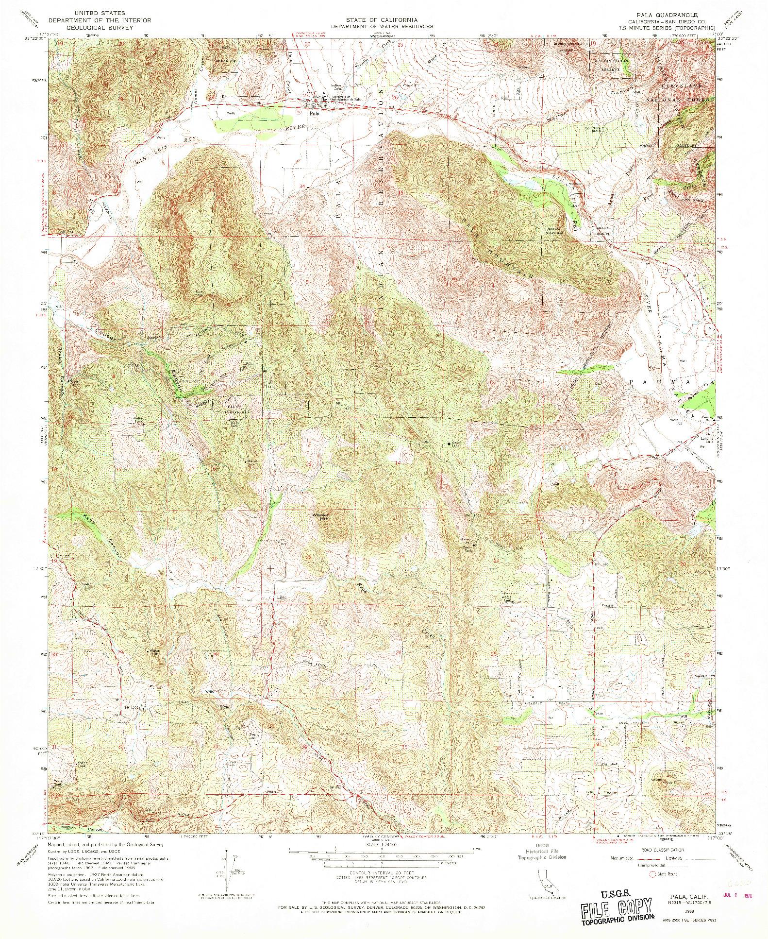 USGS 1:24000-SCALE QUADRANGLE FOR PALA, CA 1968