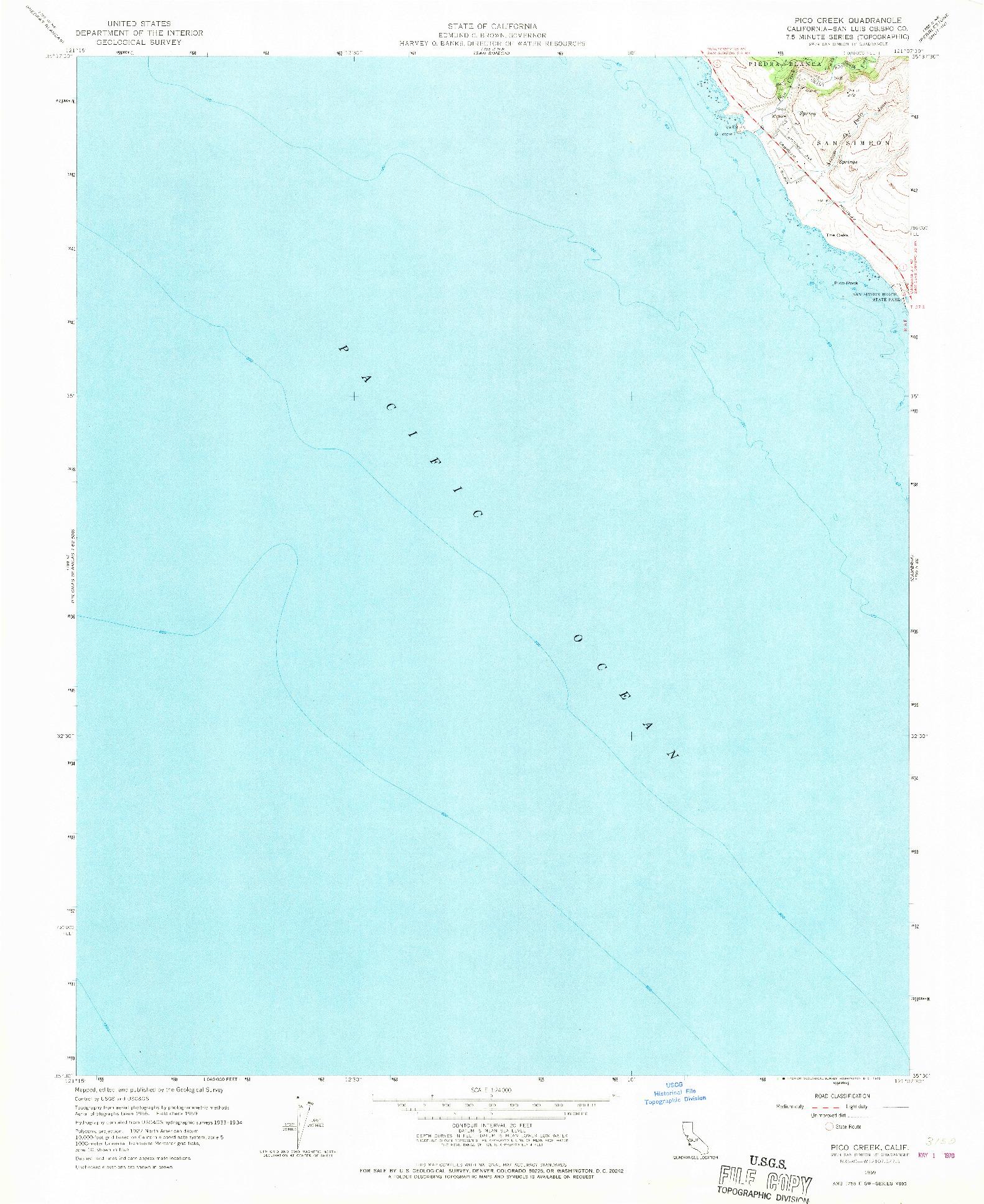 USGS 1:24000-SCALE QUADRANGLE FOR PICO CREEK, CA 1959