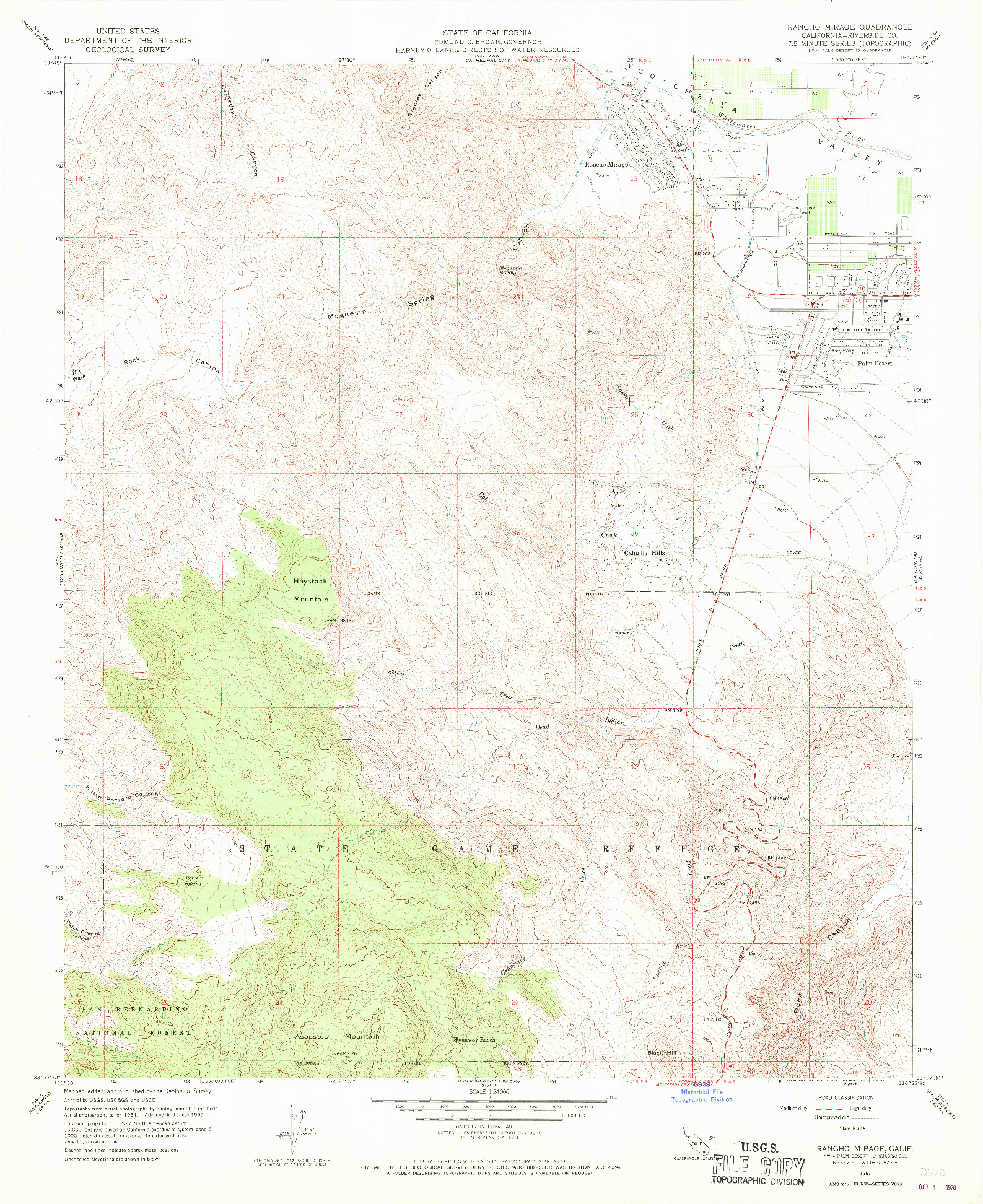 USGS 1:24000-SCALE QUADRANGLE FOR RANCHO MIRAGE, CA 1957
