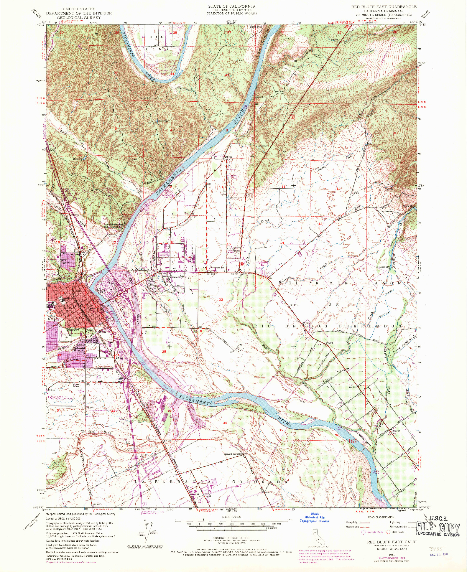 USGS 1:24000-SCALE QUADRANGLE FOR RED BLUFF EAST, CA 1951