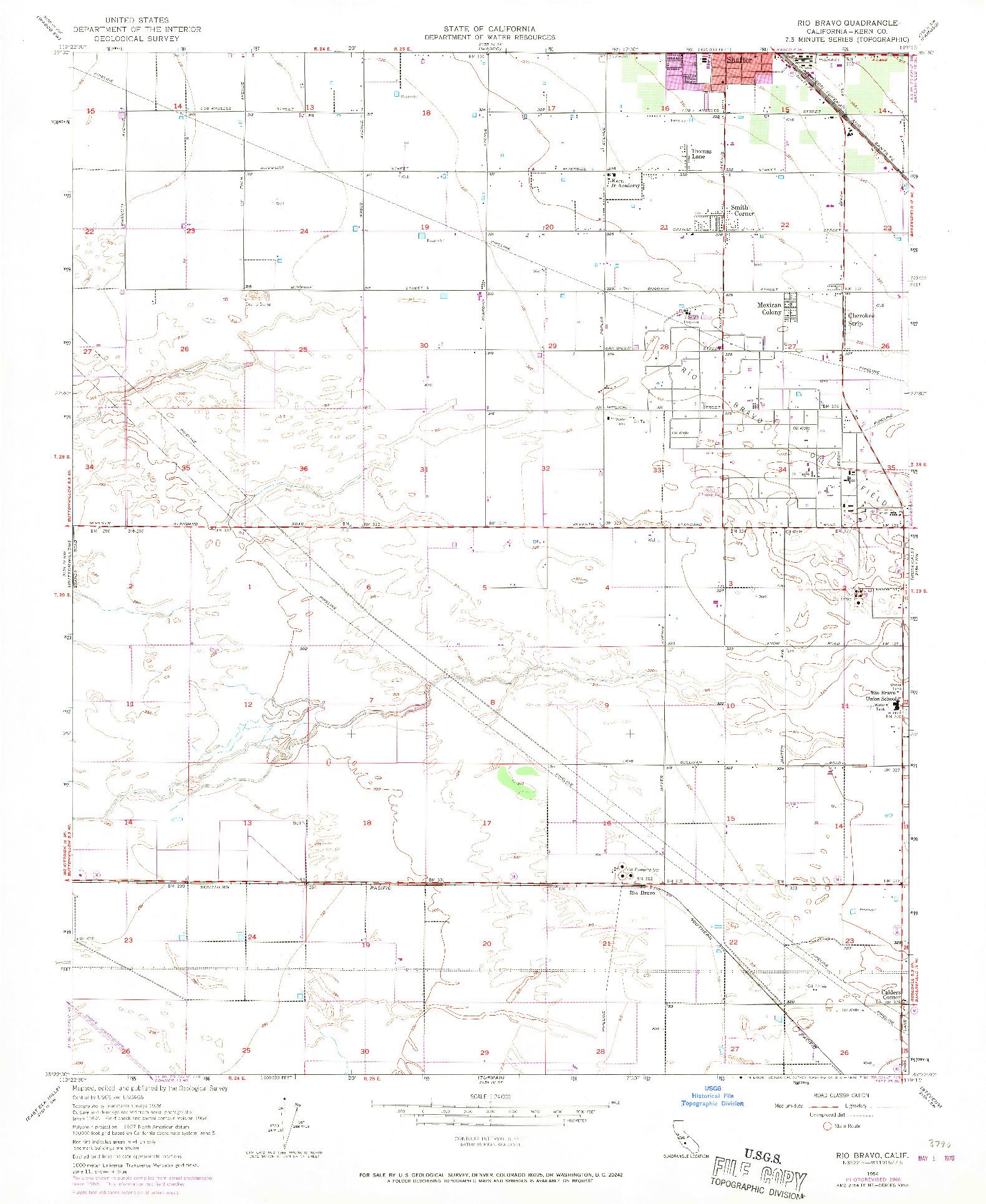 USGS 1:24000-SCALE QUADRANGLE FOR RIO BRAVO, CA 1954