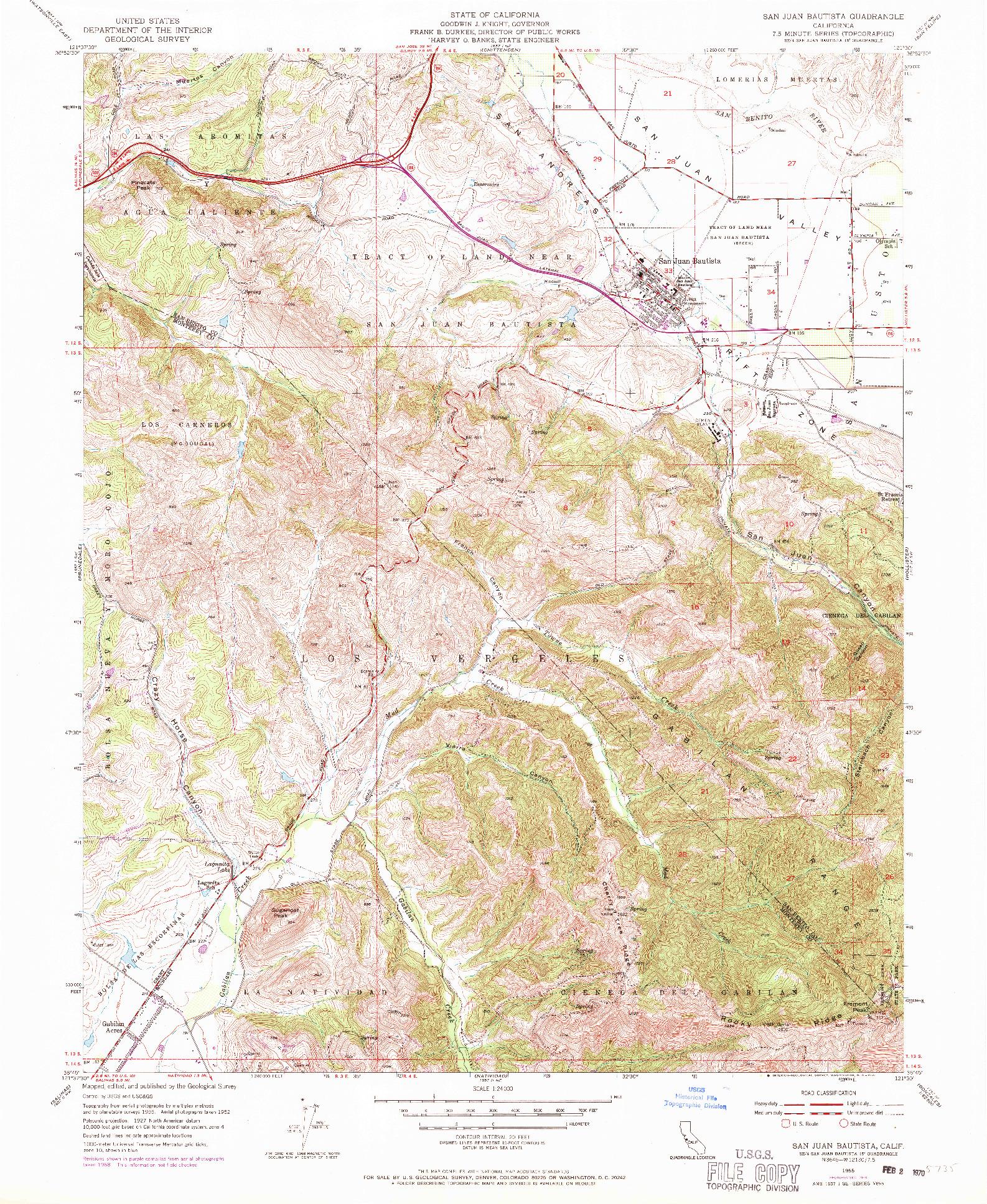 USGS 1:24000-SCALE QUADRANGLE FOR SAN JUAN BAUTISTA, CA 1955