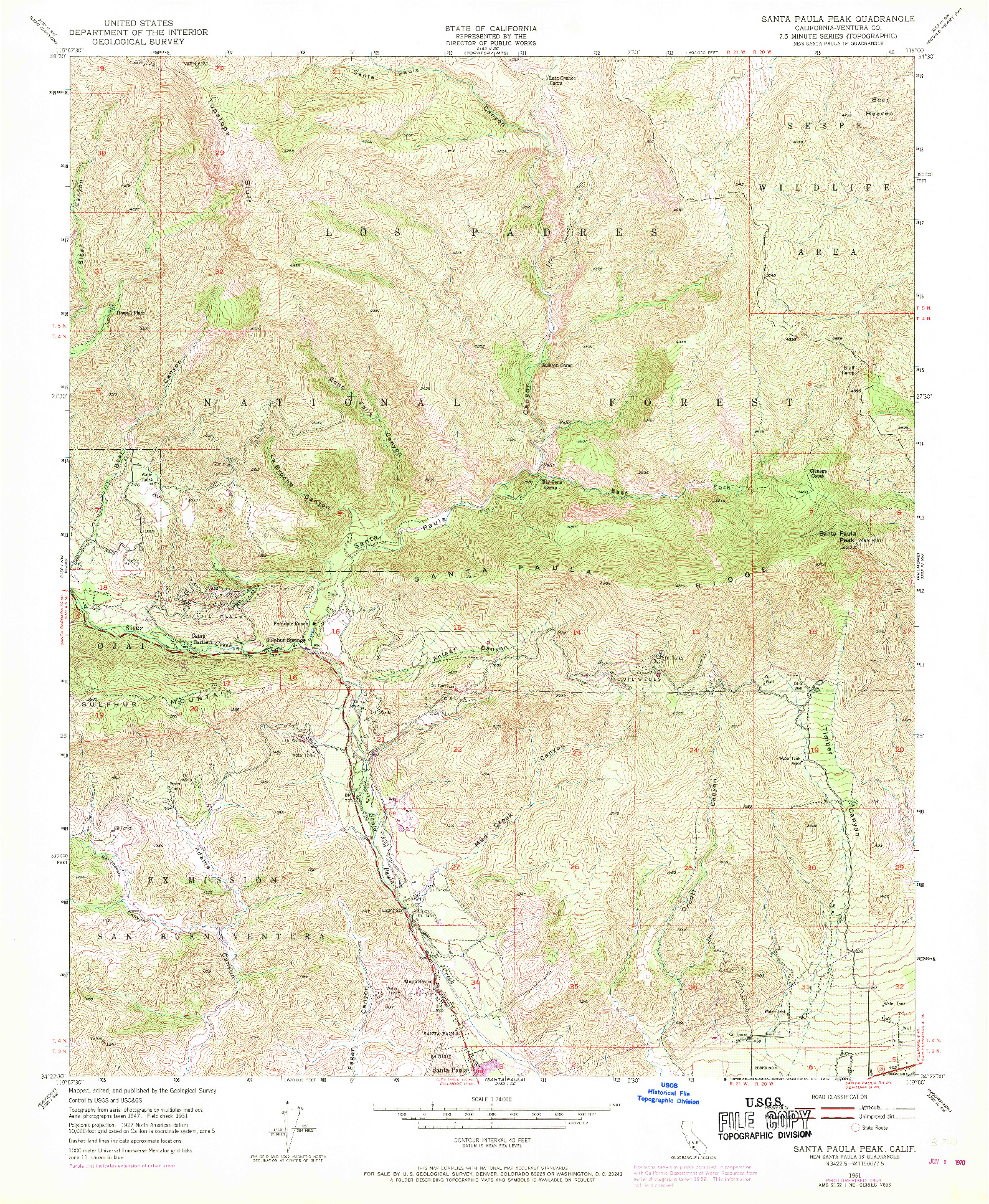USGS 1:24000-SCALE QUADRANGLE FOR SANTA PAULA PEAK, CA 1951