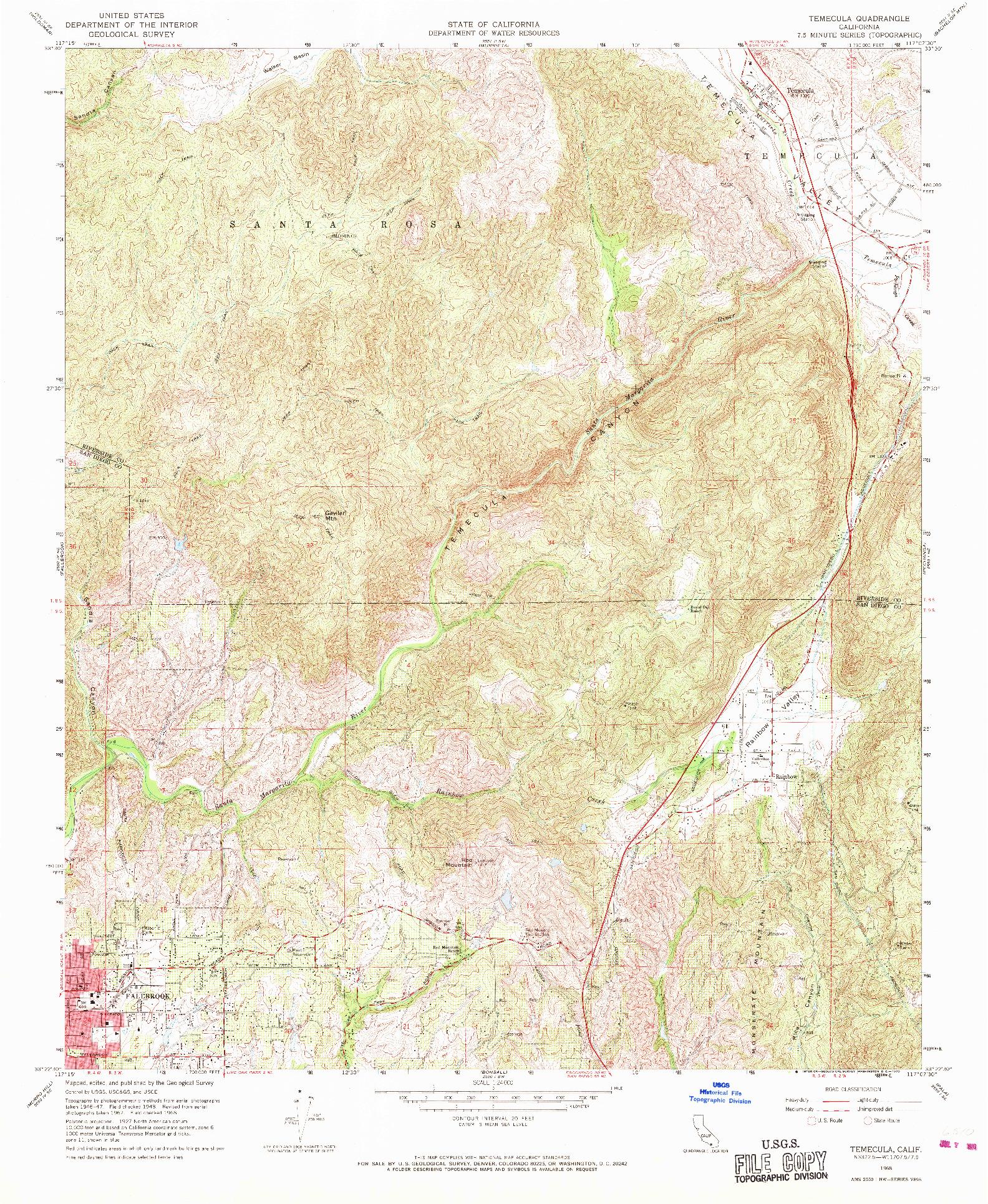 USGS 1:24000-SCALE QUADRANGLE FOR TEMECULA, CA 1968
