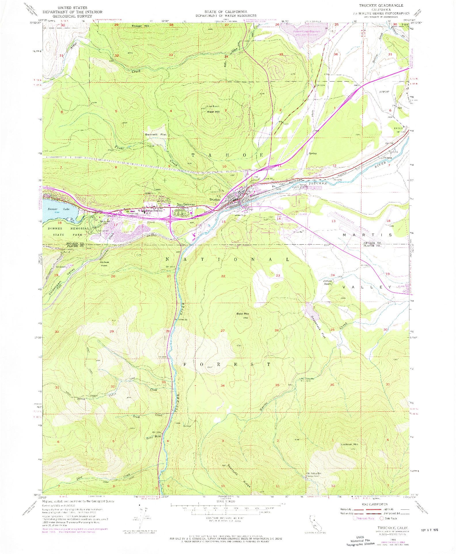 USGS 1:24000-SCALE QUADRANGLE FOR TRUCKEE, CA 1955
