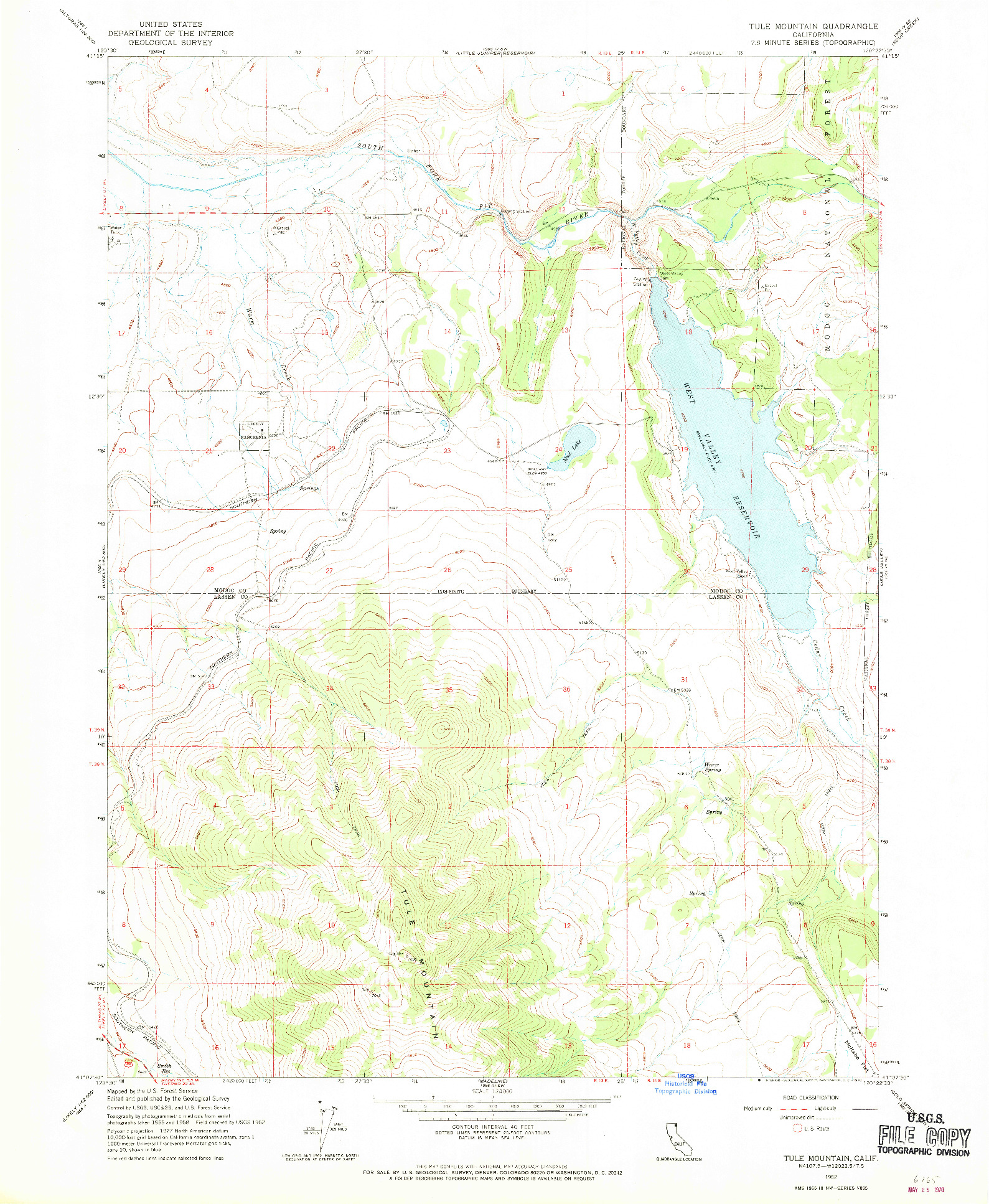 USGS 1:24000-SCALE QUADRANGLE FOR TULE MOUNTAIN, CA 1962