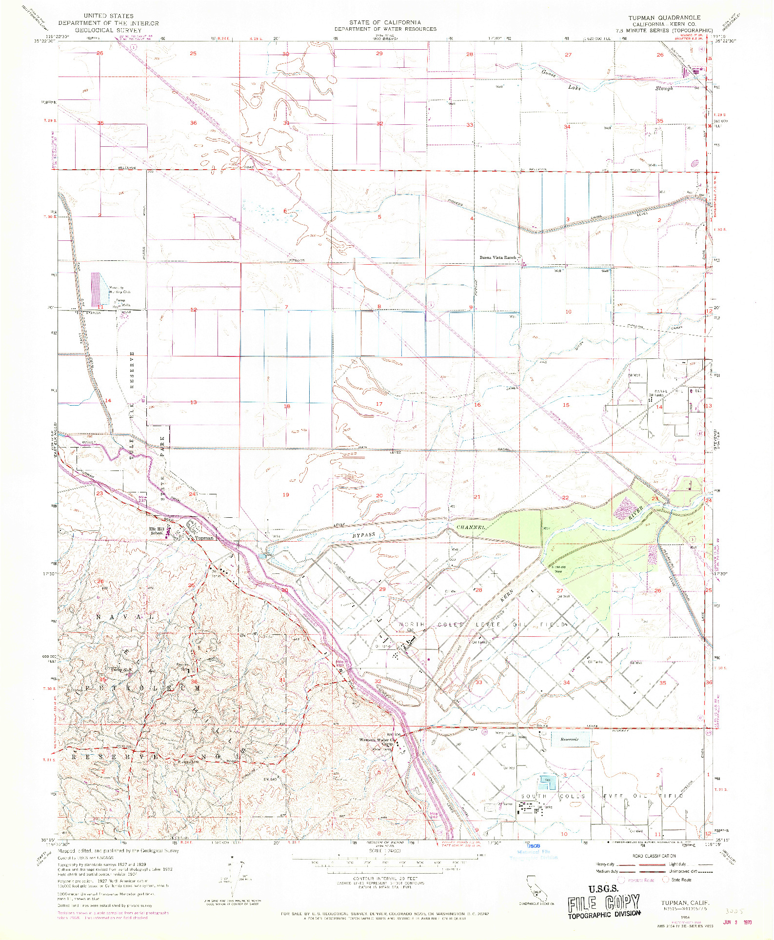 USGS 1:24000-SCALE QUADRANGLE FOR TUPMAN, CA 1954