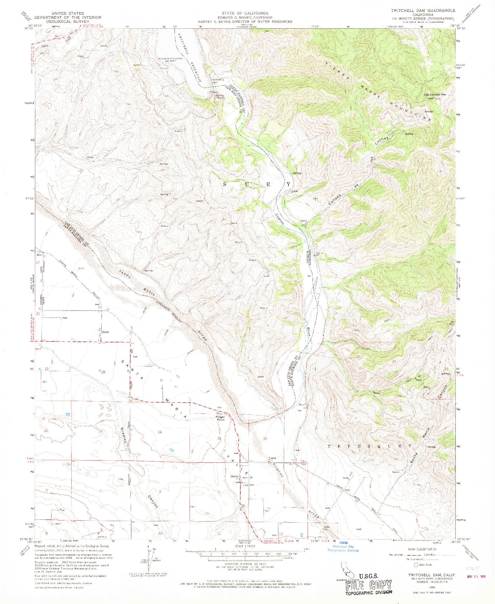 USGS 1:24000-SCALE QUADRANGLE FOR TWITCHELL DAM, CA 1959