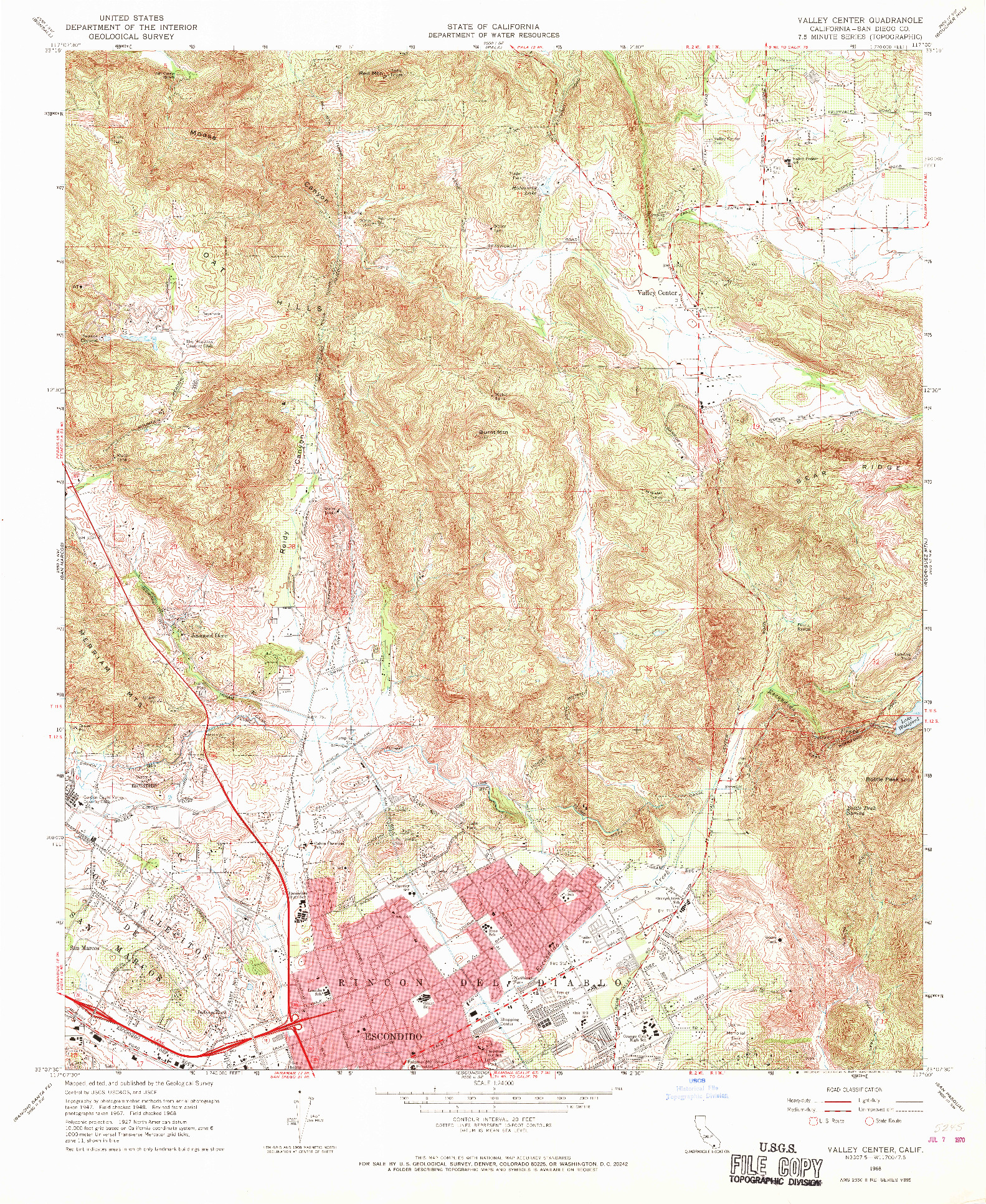USGS 1:24000-SCALE QUADRANGLE FOR VALLEY CENTER, CA 1968