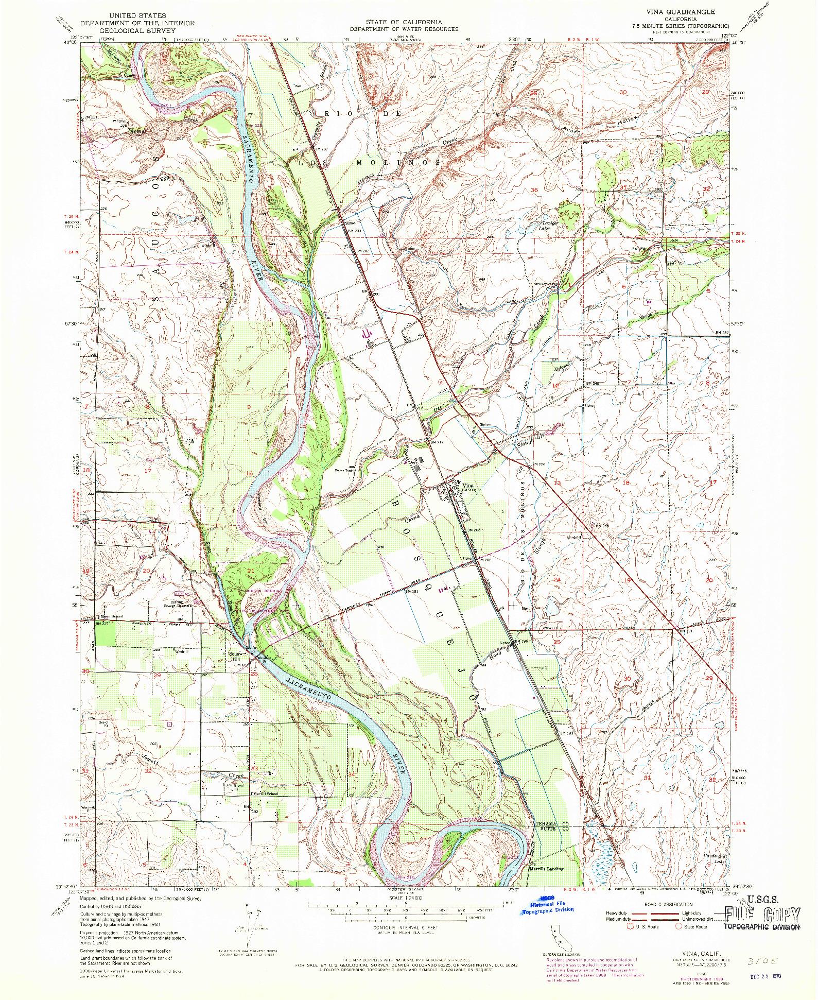 USGS 1:24000-SCALE QUADRANGLE FOR VINA, CA 1950