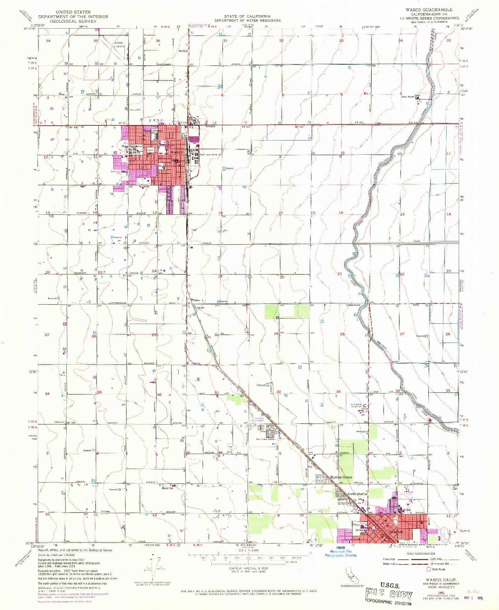 USGS 1:24000-SCALE QUADRANGLE FOR WASCO, CA 1953