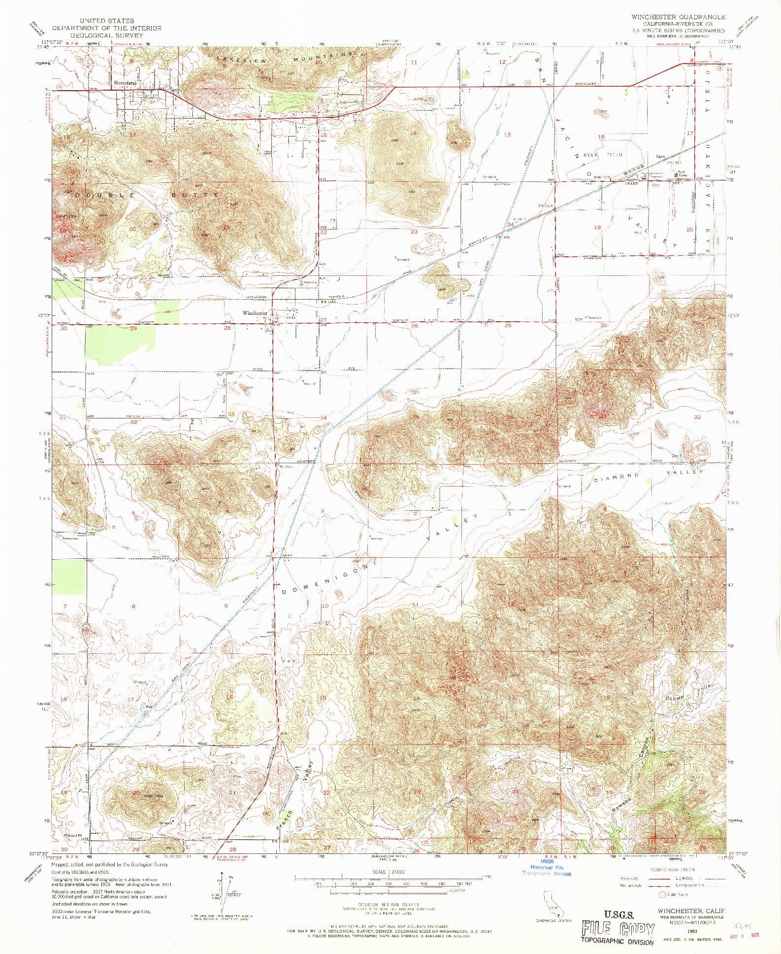 USGS 1:24000-SCALE QUADRANGLE FOR WINCHESTER, CA 1953