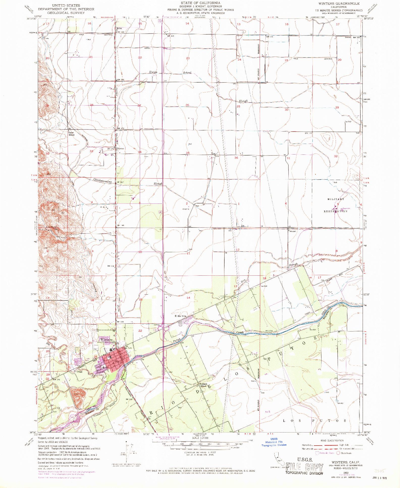 USGS 1:24000-SCALE QUADRANGLE FOR WINTERS, CA 1953