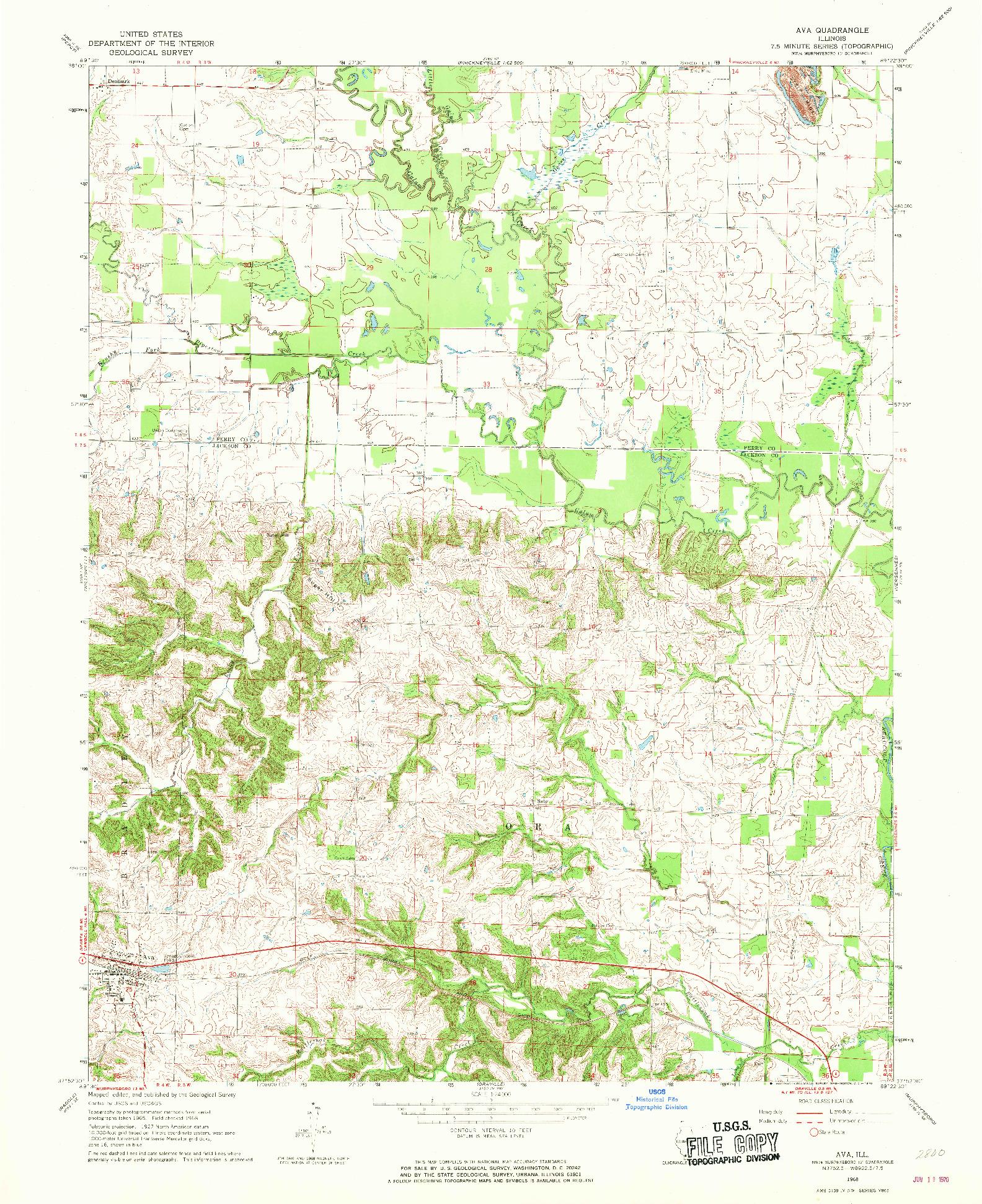 USGS 1:24000-SCALE QUADRANGLE FOR AVA, IL 1968