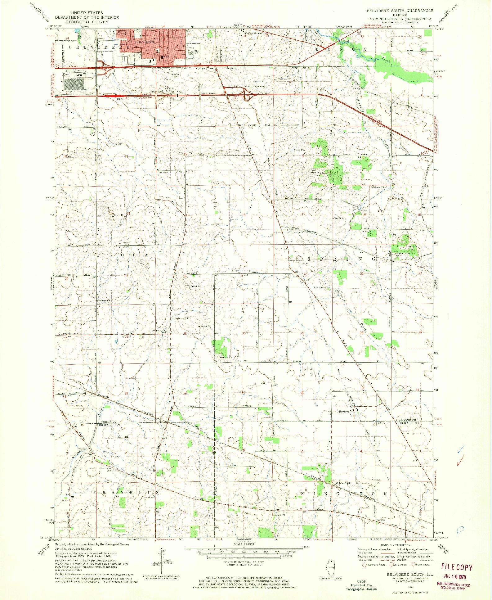USGS 1:24000-SCALE QUADRANGLE FOR BELVIDERE SOUTH, IL 1968
