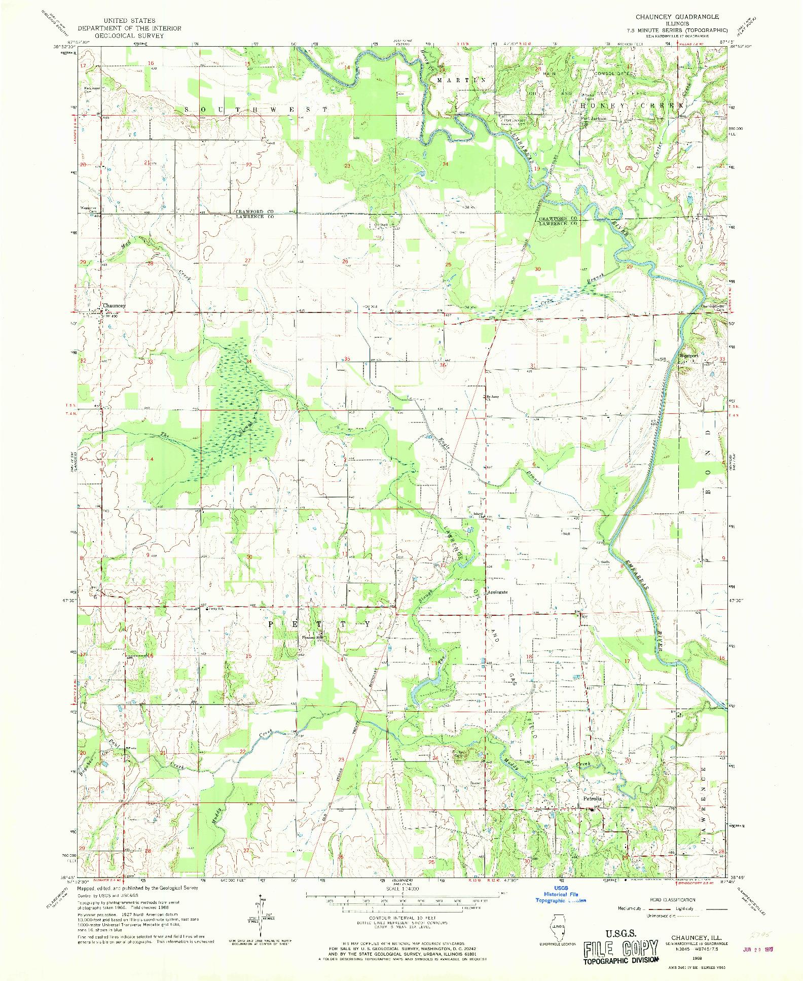 USGS 1:24000-SCALE QUADRANGLE FOR CHAUNCEY, IL 1968