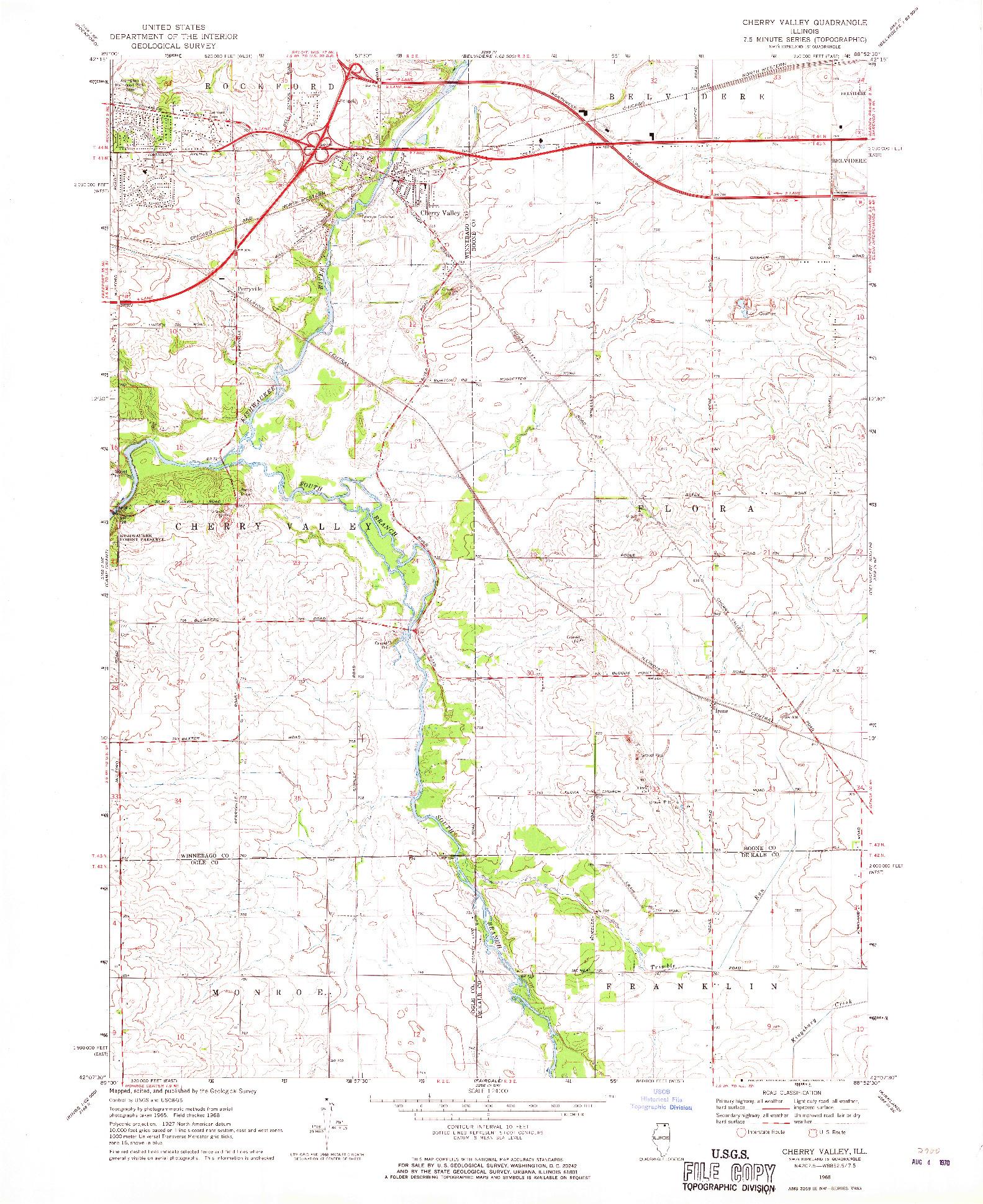 USGS 1:24000-SCALE QUADRANGLE FOR CHERRY VALLEY, IL 1968