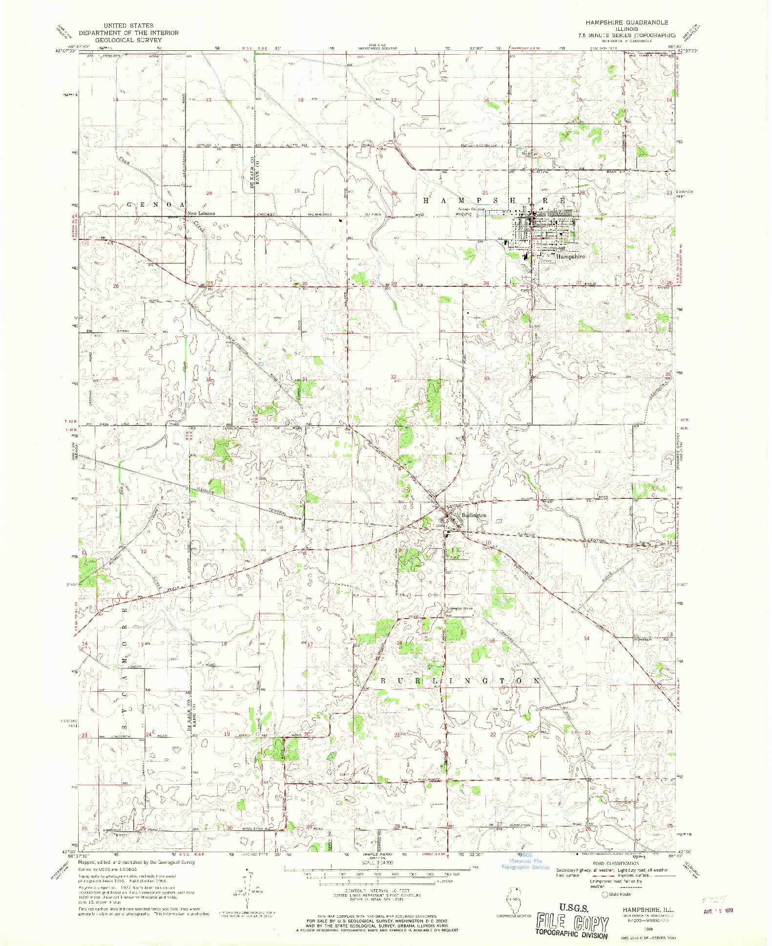 USGS 1:24000-SCALE QUADRANGLE FOR HAMPSHIRE, IL 1968