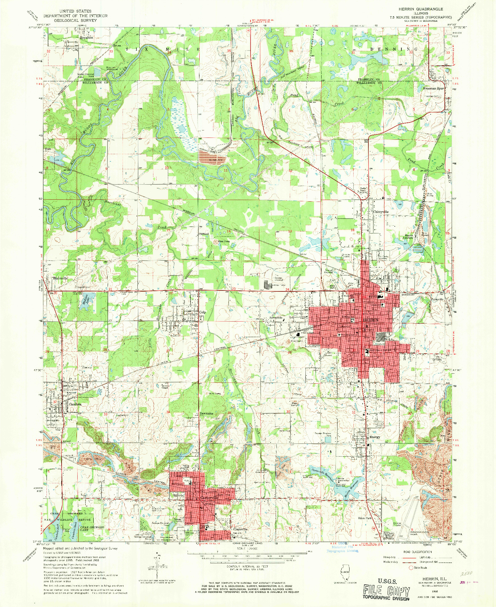 USGS 1:24000-SCALE QUADRANGLE FOR HERRIN, IL 1968