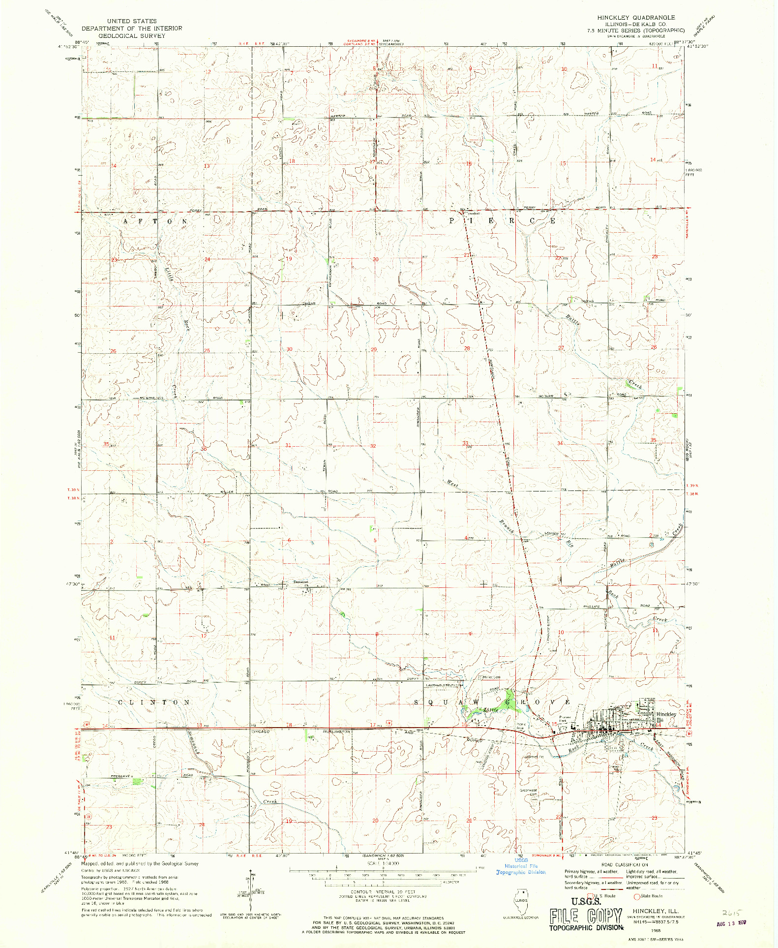 USGS 1:24000-SCALE QUADRANGLE FOR HINCKLEY, IL 1968