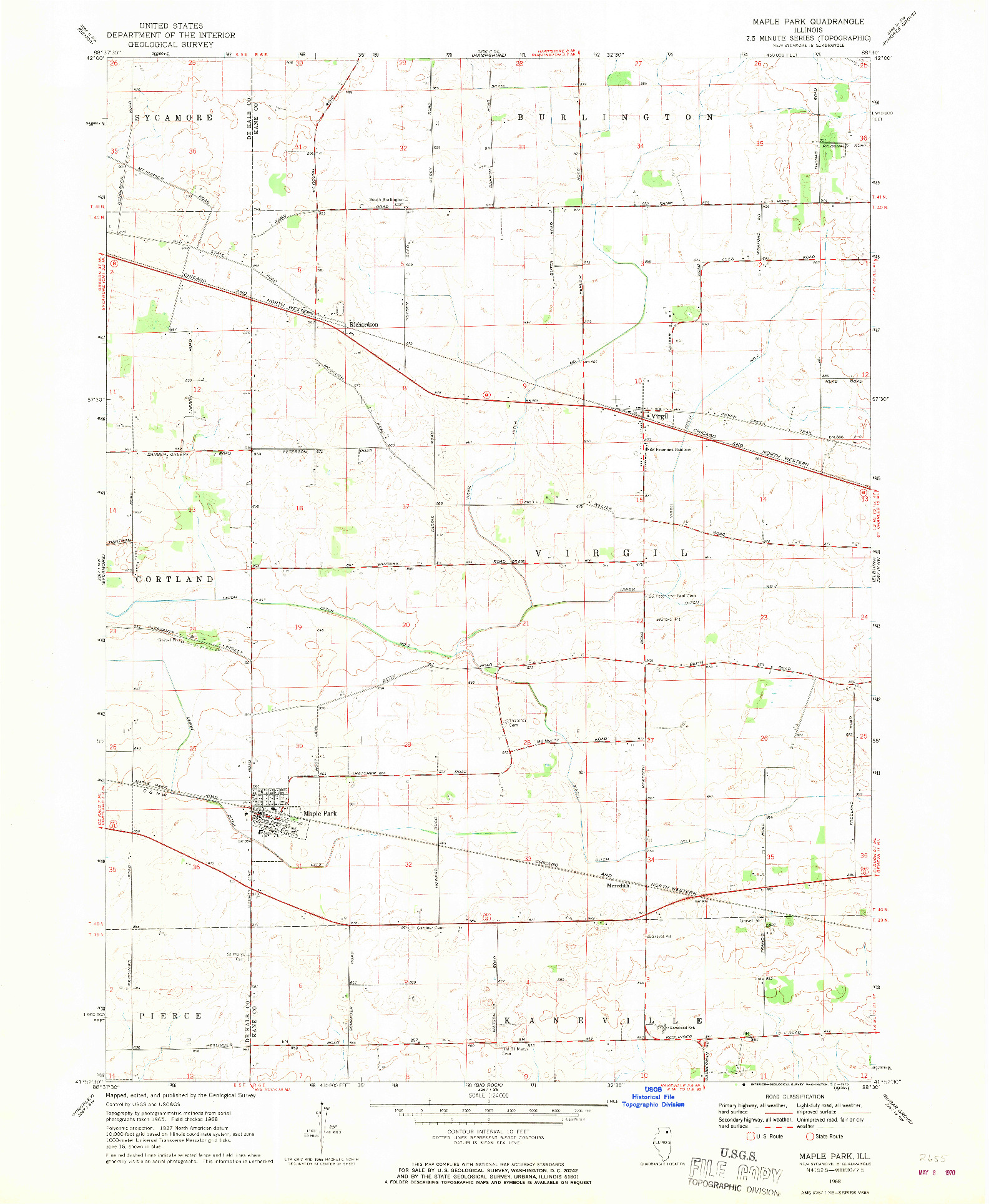 USGS 1:24000-SCALE QUADRANGLE FOR MAPLE PARK, IL 1968