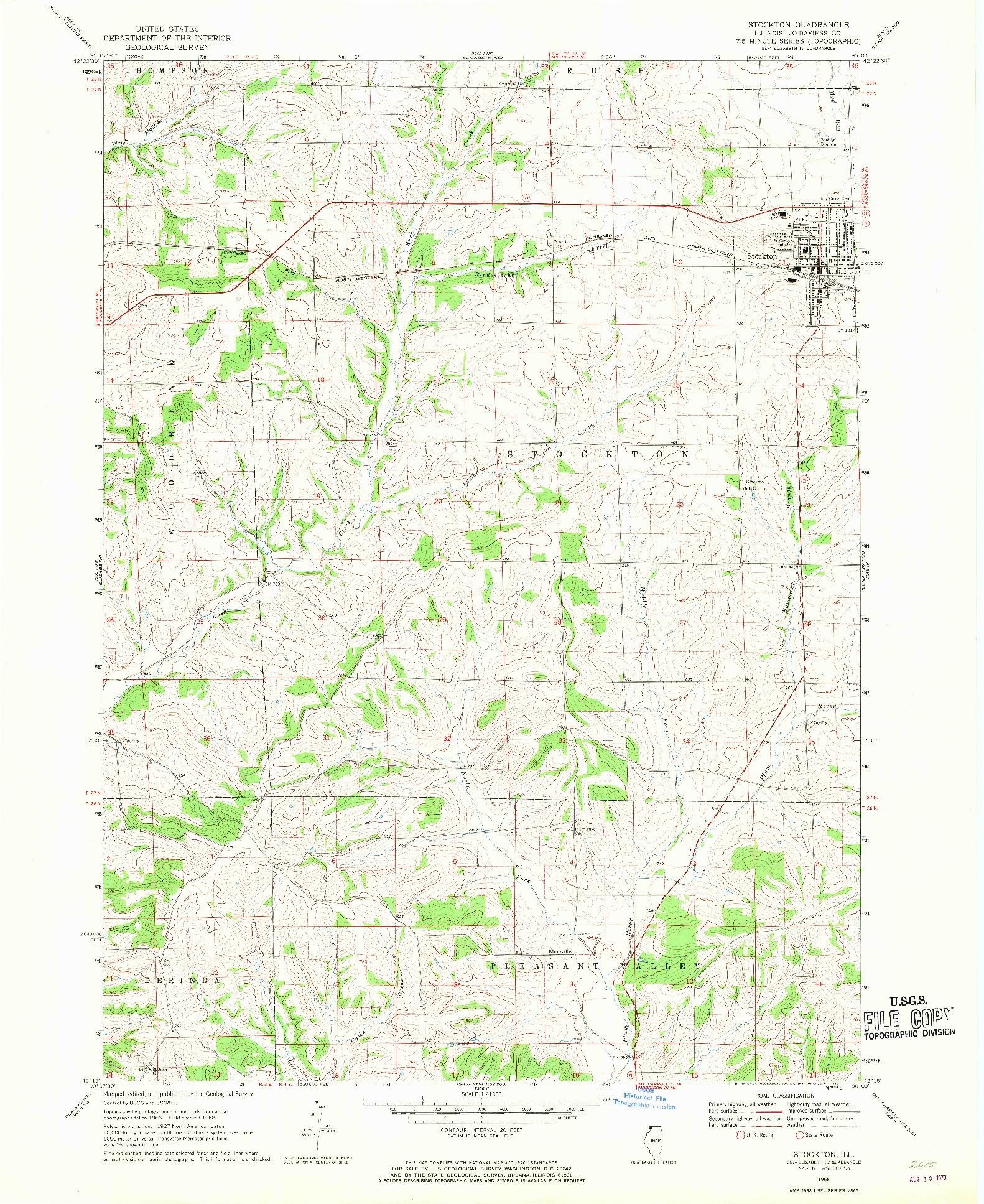 USGS 1:24000-SCALE QUADRANGLE FOR STOCKTON, IL 1968