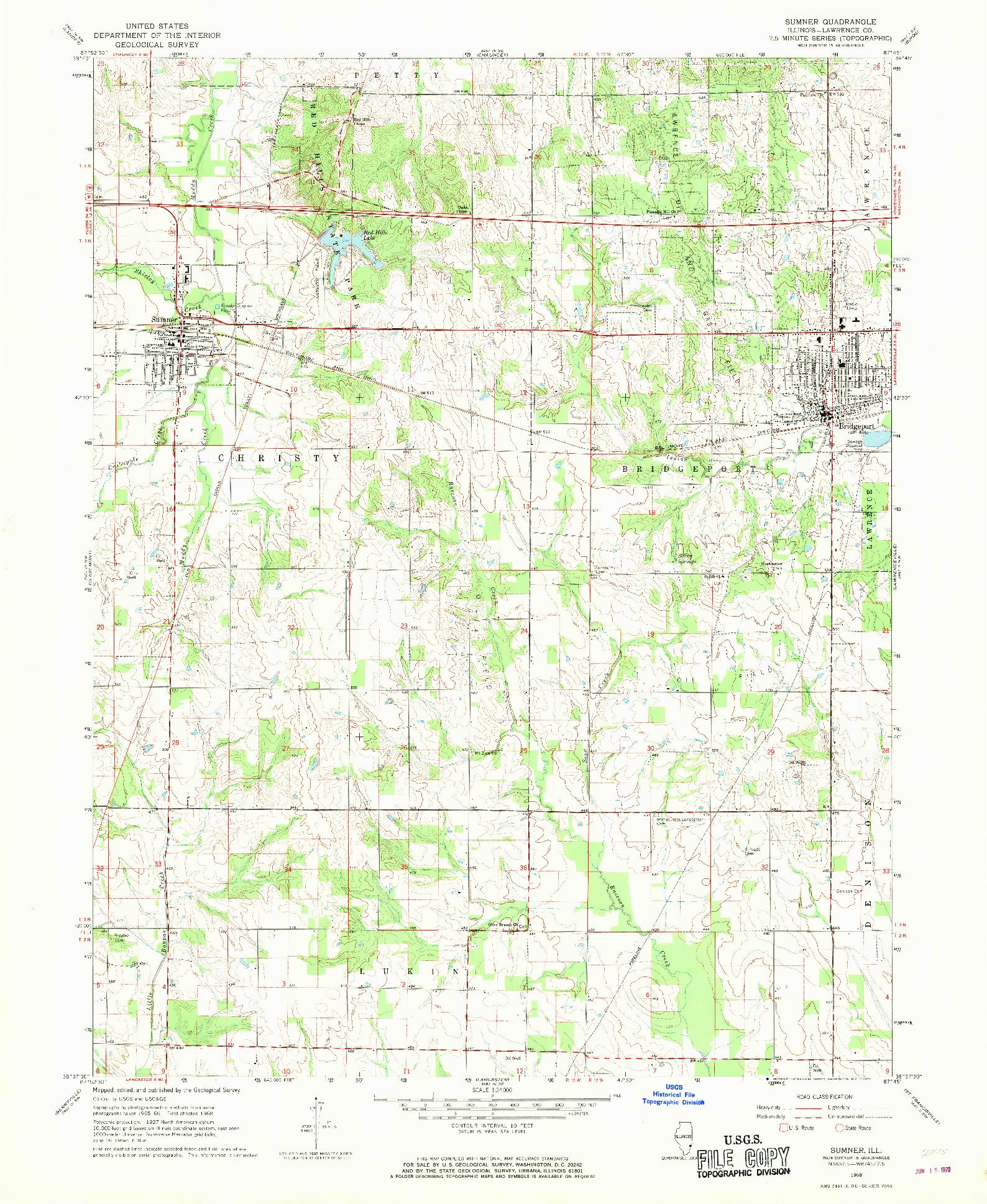 USGS 1:24000-SCALE QUADRANGLE FOR SUMNER, IL 1968