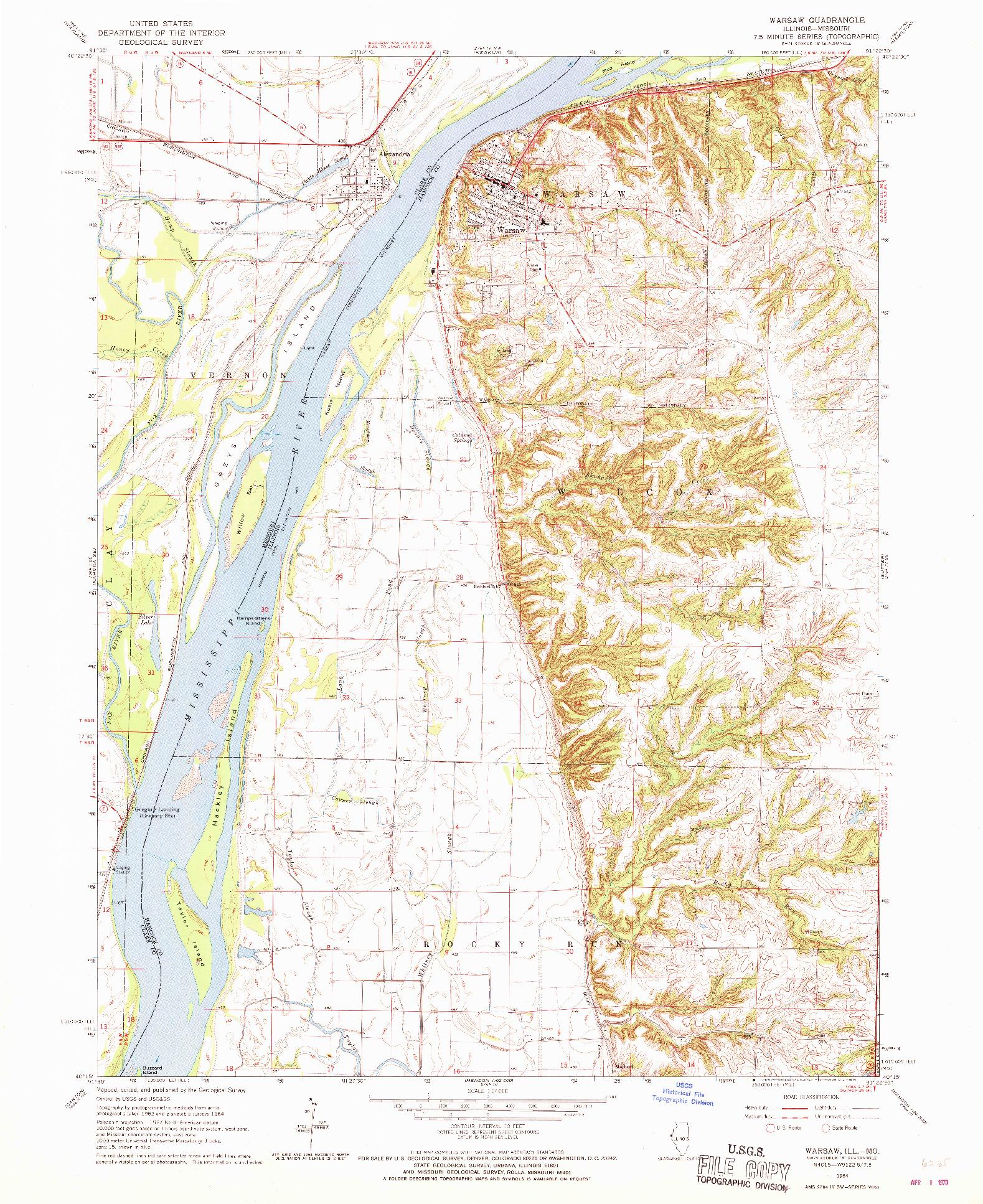 USGS 1:24000-SCALE QUADRANGLE FOR WARSAW, IL 1964