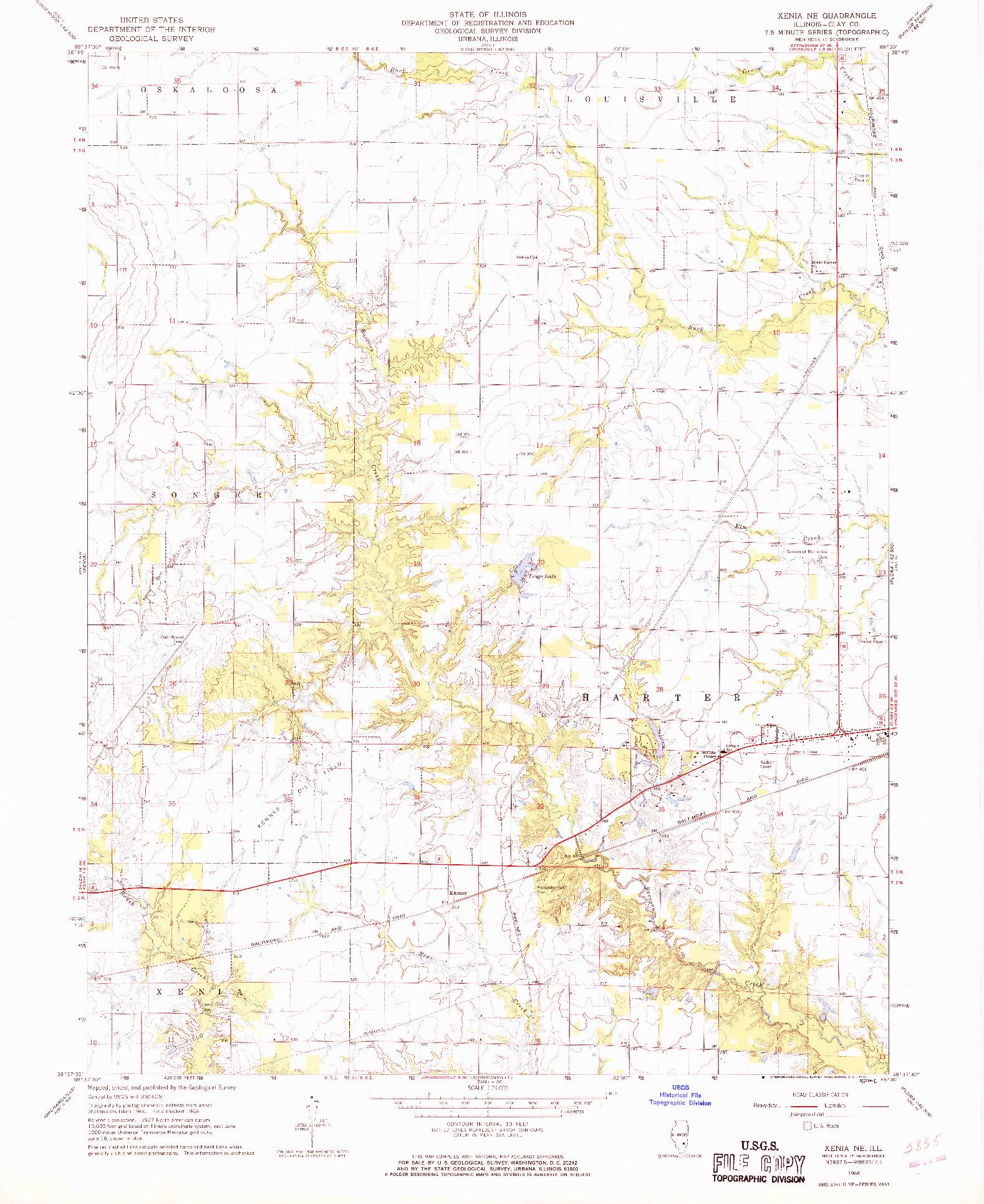 USGS 1:24000-SCALE QUADRANGLE FOR XENIA NE, IL 1968